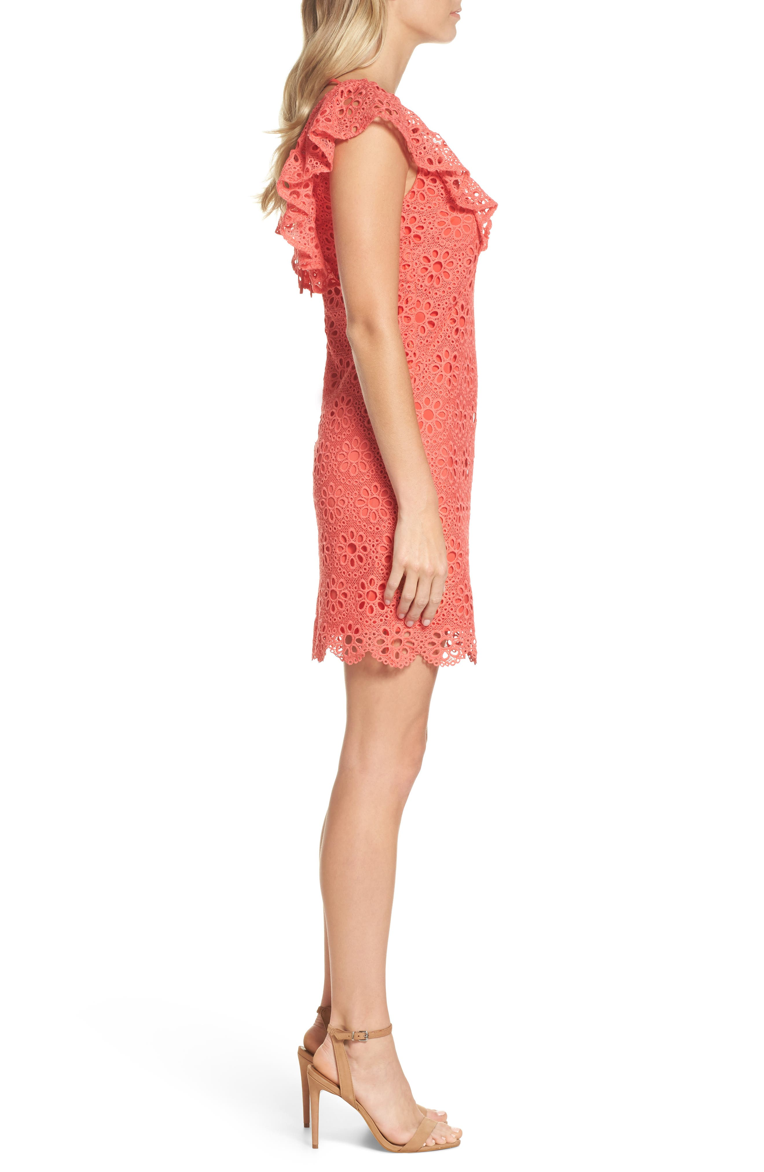 Neriah Eyelet Embroidered Dress,                             Alternate thumbnail 3, color,                             CORAL LILLY