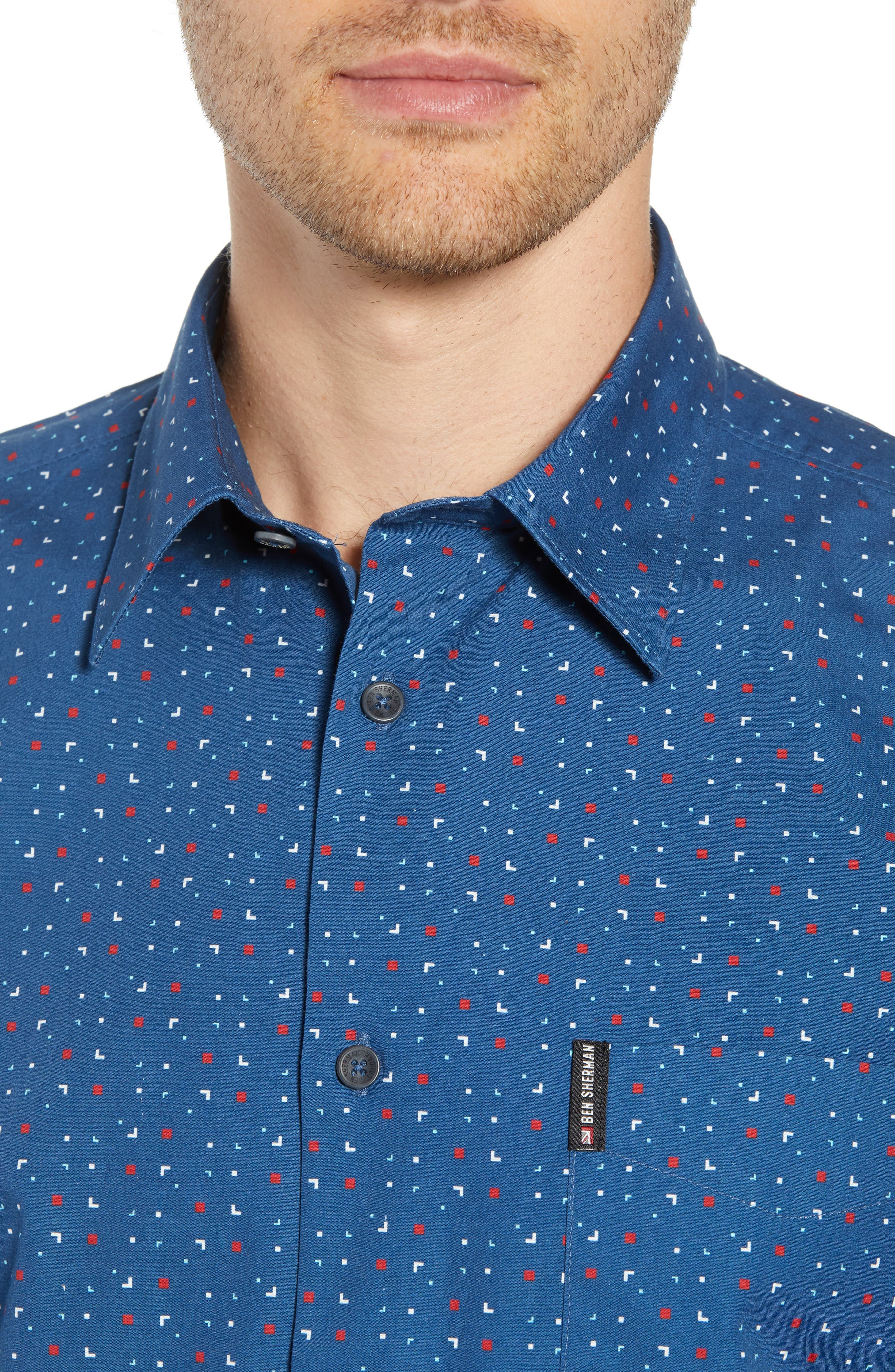 Scattered Geo Woven Shirt,                             Alternate thumbnail 7, color,