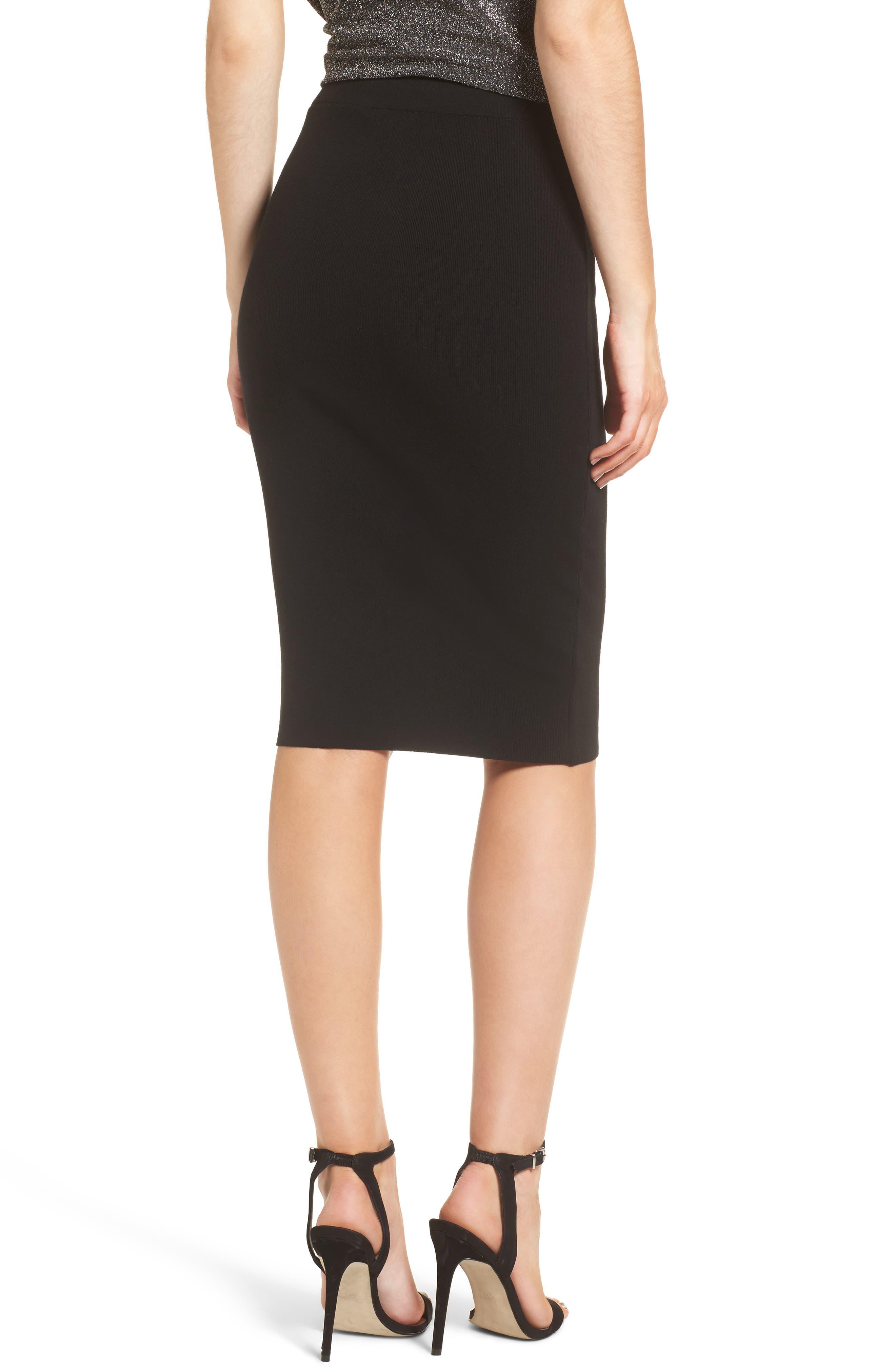 High Waist Body-Con Skirt,                             Alternate thumbnail 2, color,                             BLACK