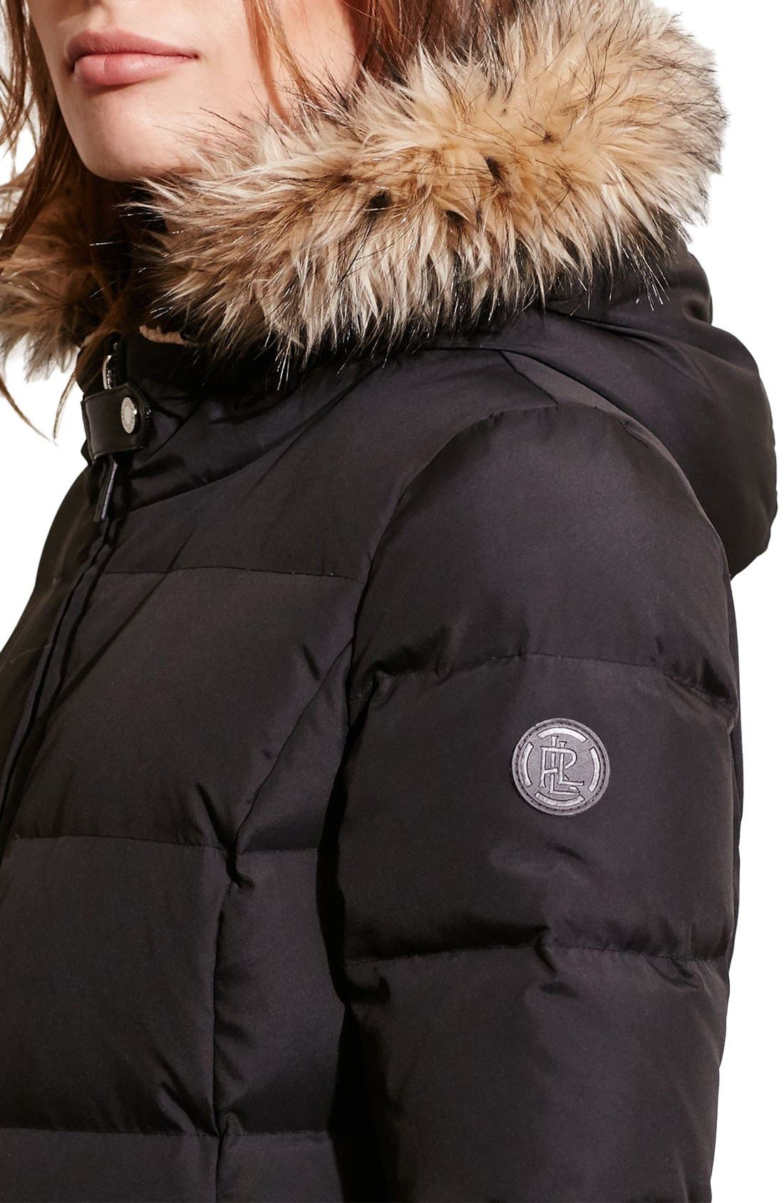 Quilted Parka,                             Alternate thumbnail 4, color,                             BLACK