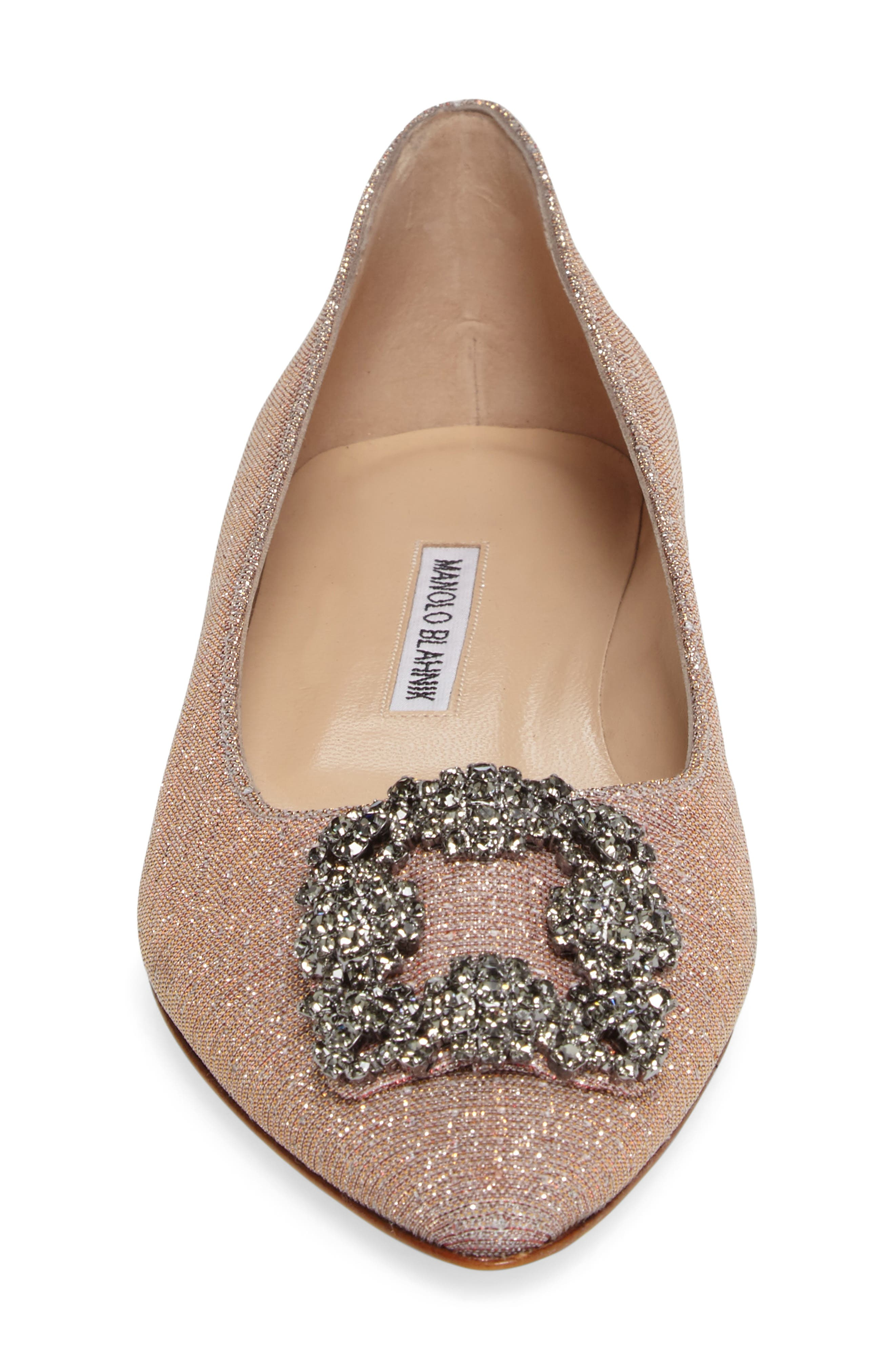 MANOLO BLAHNIK,                             'Hangisi' Jeweled Pointy Toe Flat,                             Alternate thumbnail 4, color,                             CHAMPAGNE FABRIC