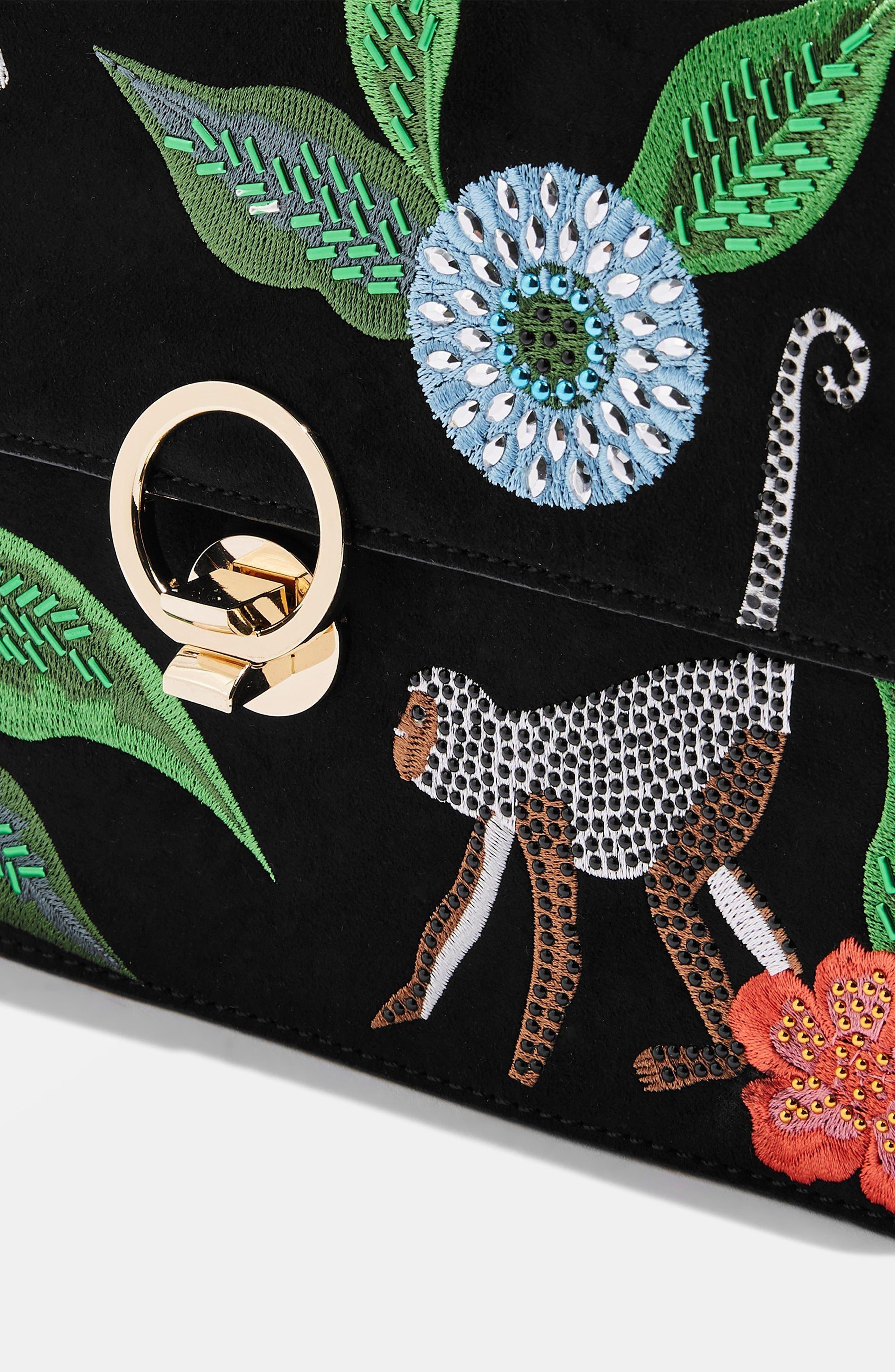 Milo Monkey Floral Shoulder Bag,                             Alternate thumbnail 4, color,                             BLACK