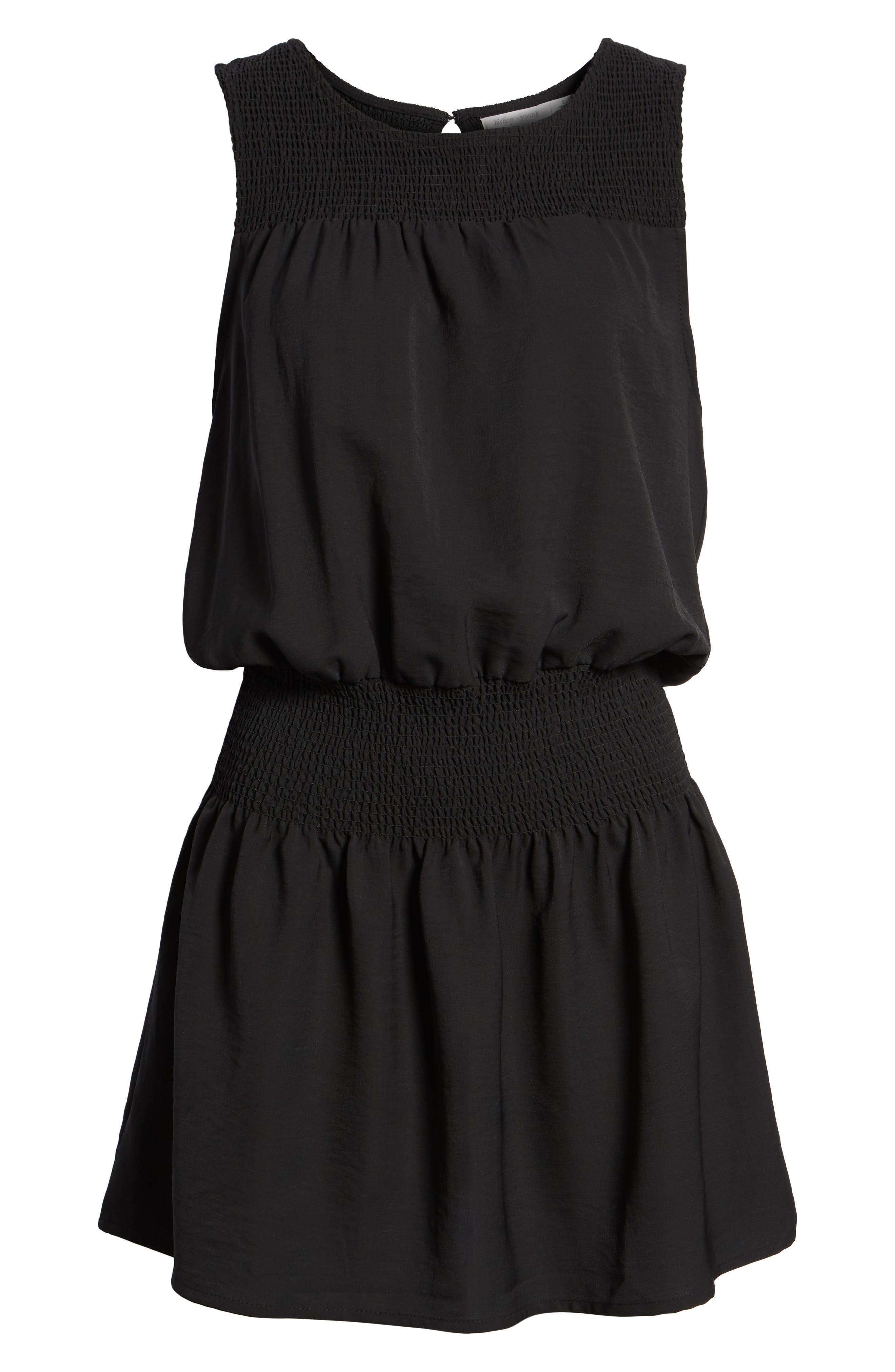 Bishop + Young Smocked Dress,                             Alternate thumbnail 7, color,                             BLACK