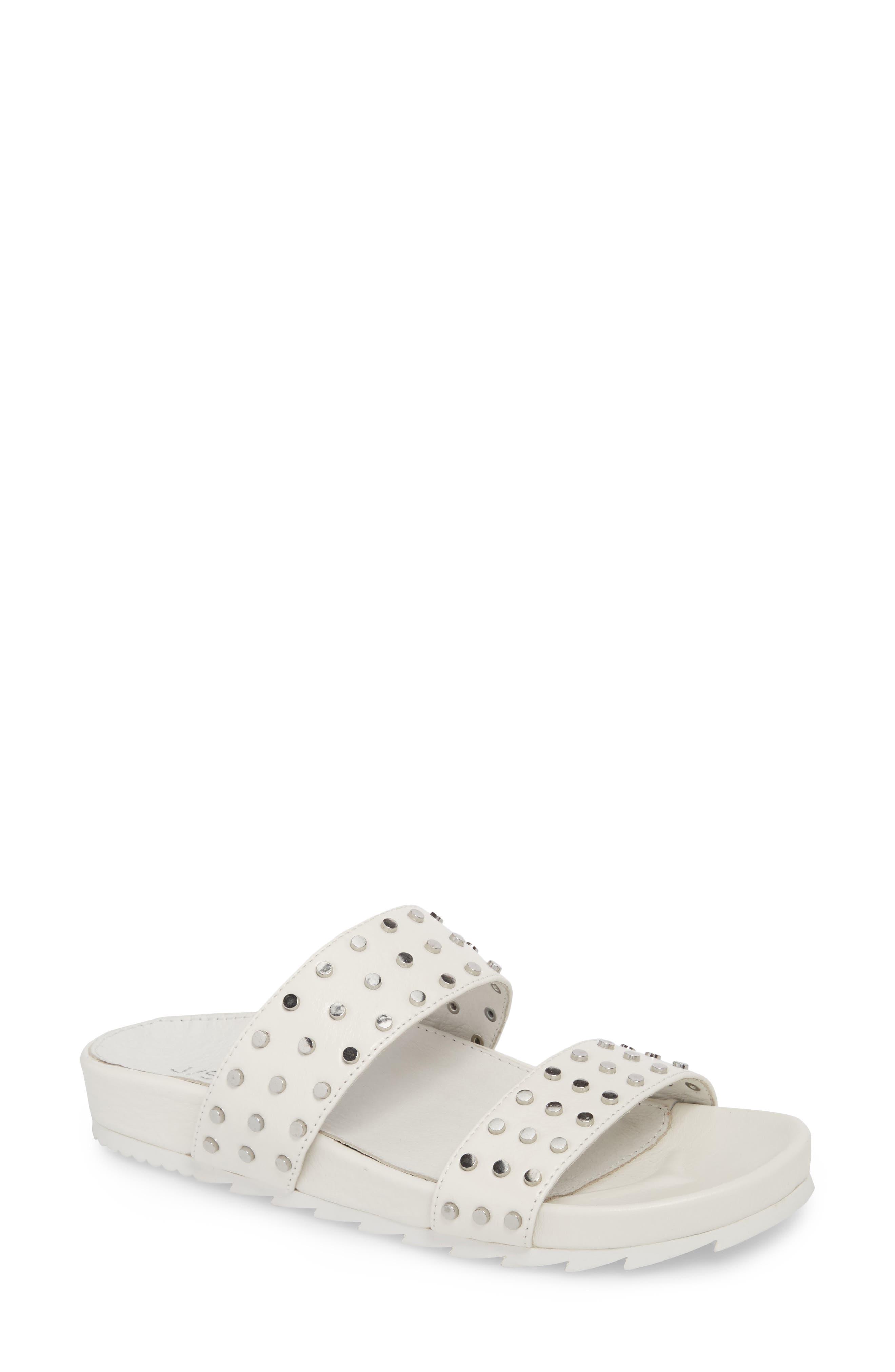 Erika Studded Slide Sandal,                             Main thumbnail 1, color,                             WHITE LEATHER