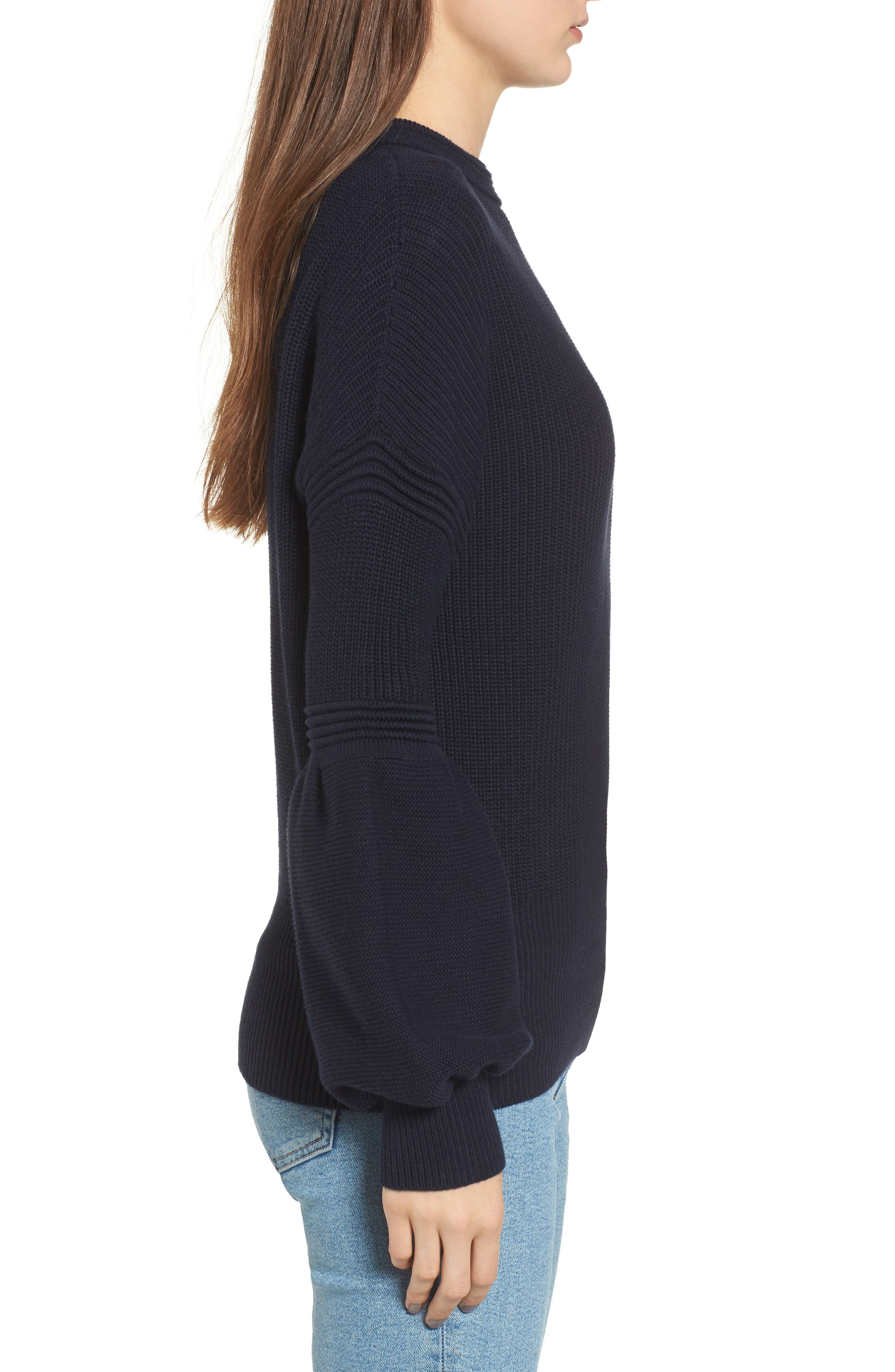 Sculpture Puff Sleeve Sweater,                             Alternate thumbnail 3, color,                             410