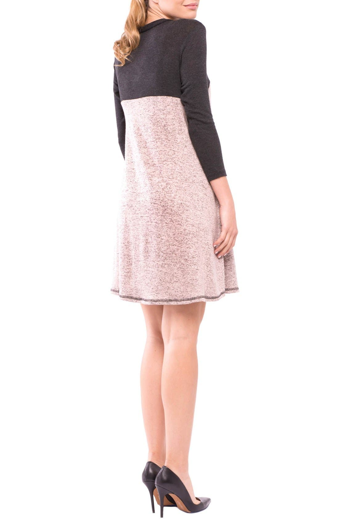 Paola Maternity Sweater Dress,                             Alternate thumbnail 2, color,                             CHARCOAL/ ROSE