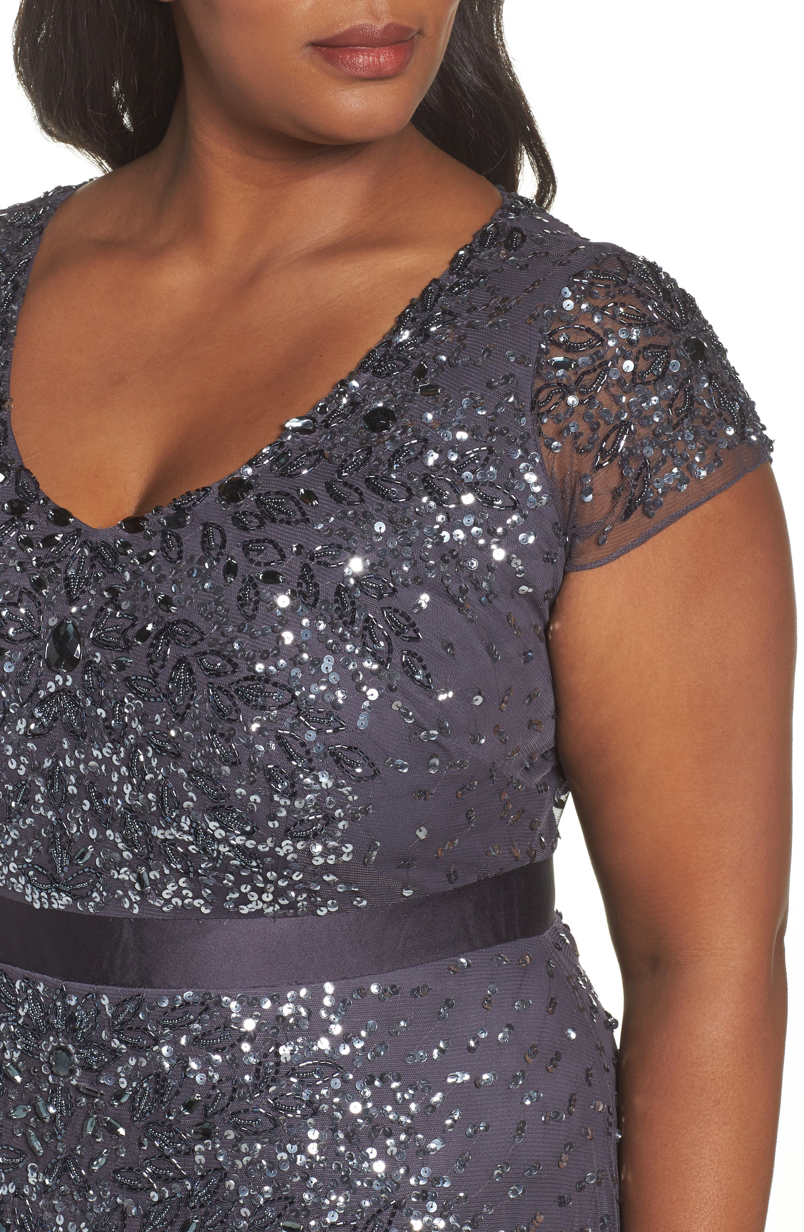 Beaded V-Neck Gown,                             Alternate thumbnail 6, color,                             GUNMETAL