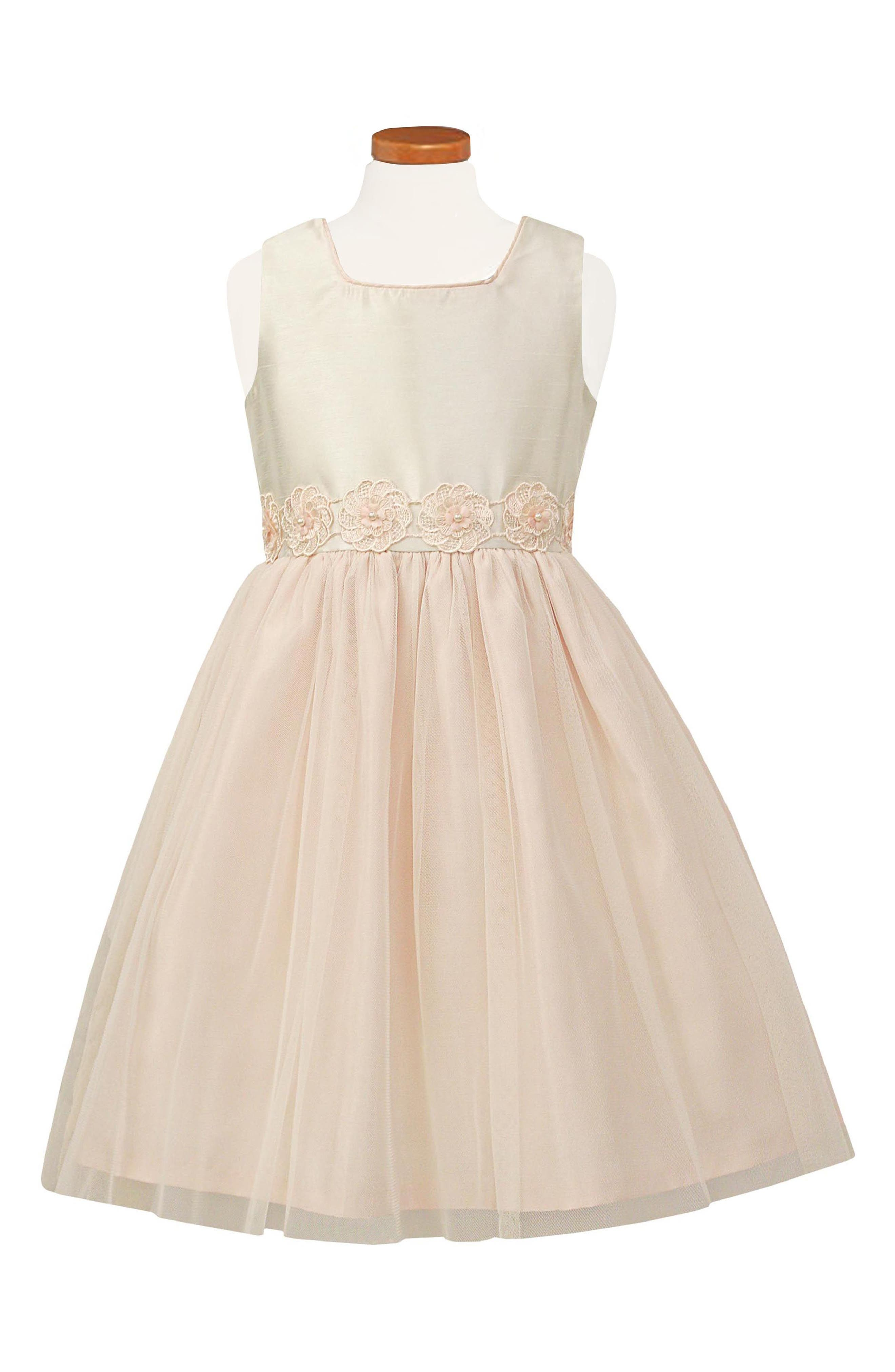 Tulle & Organza Party Dress,                         Main,                         color, PINK