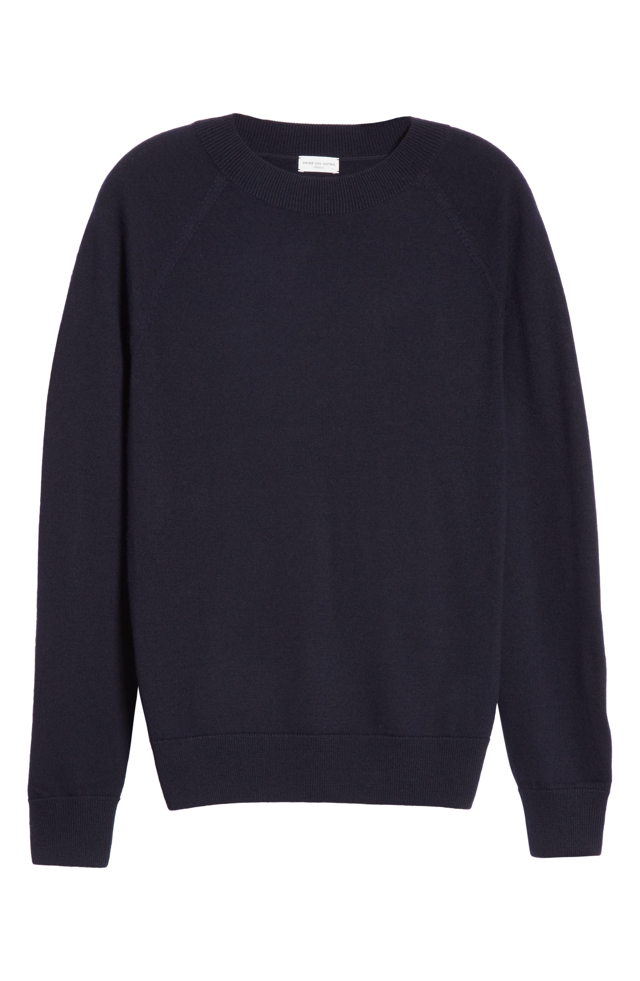 Mimic Raglan Sweater,                             Alternate thumbnail 6, color,                             NAVY