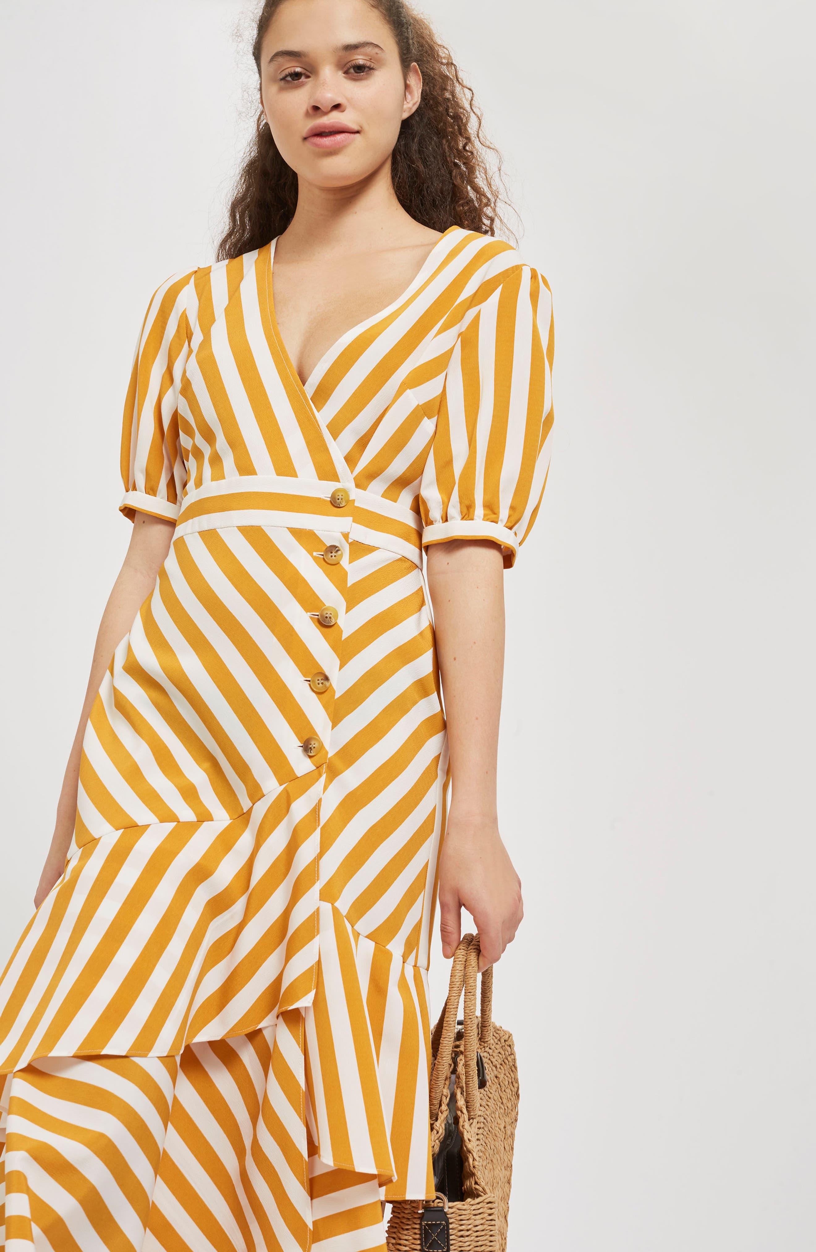 Cutabout Stripe Ruffle Midi Dress,                             Alternate thumbnail 5, color,