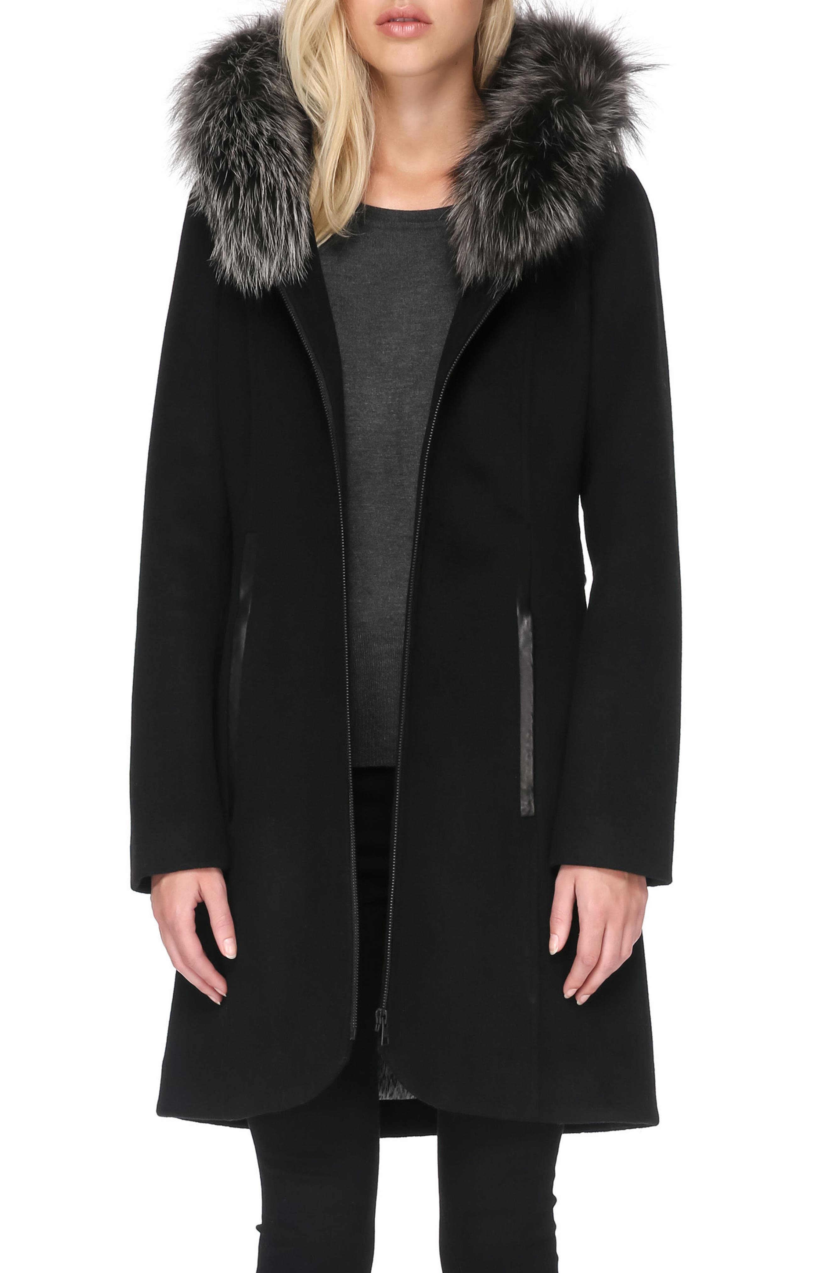Hooded Wool Blend Coat with Detachable Genuine Fox Fur,                             Alternate thumbnail 4, color,                             001