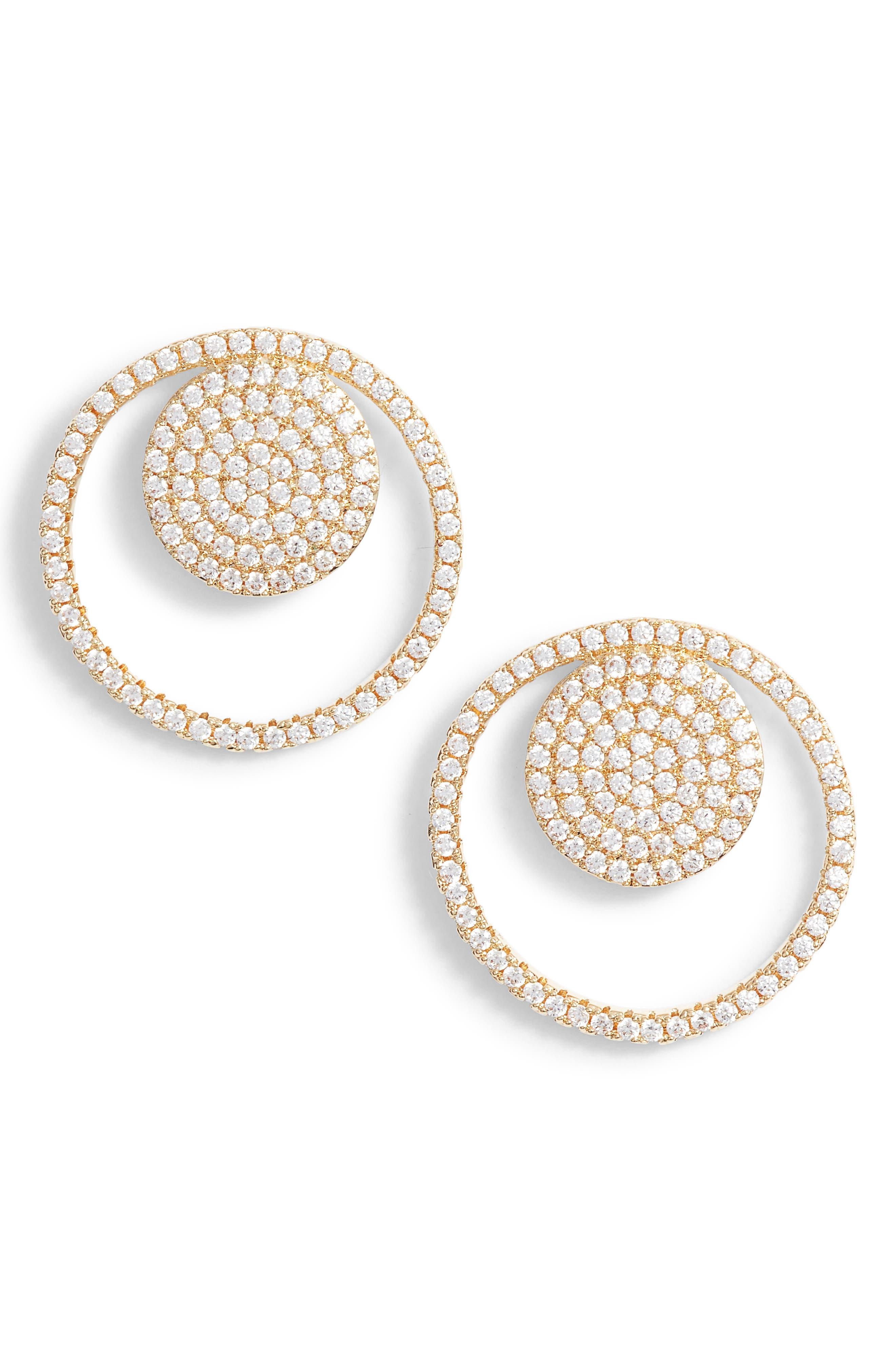 Pavé Spheres Frontal Hoop Earrings,                         Main,                         color, CLEAR/ GOLD