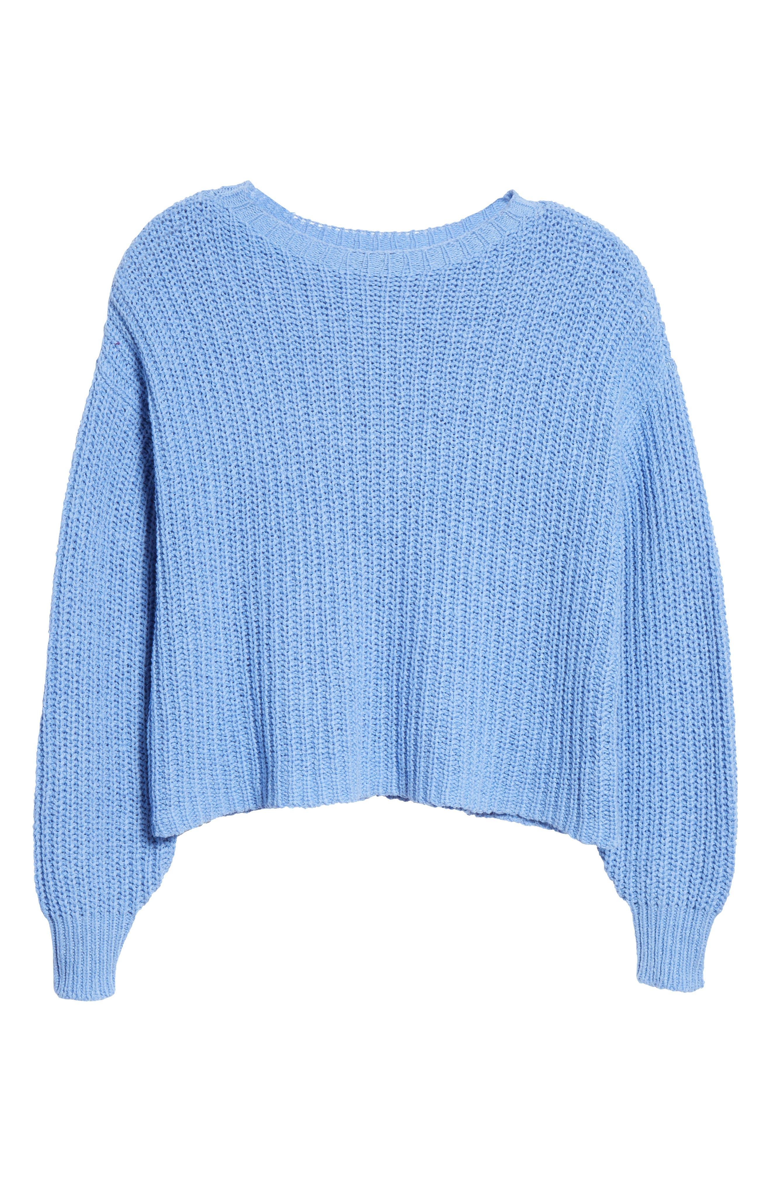 EILEEN FISHER,                             Crewneck Crop Shaker Sweater,                             Alternate thumbnail 6, color,                             BLUEBIRD
