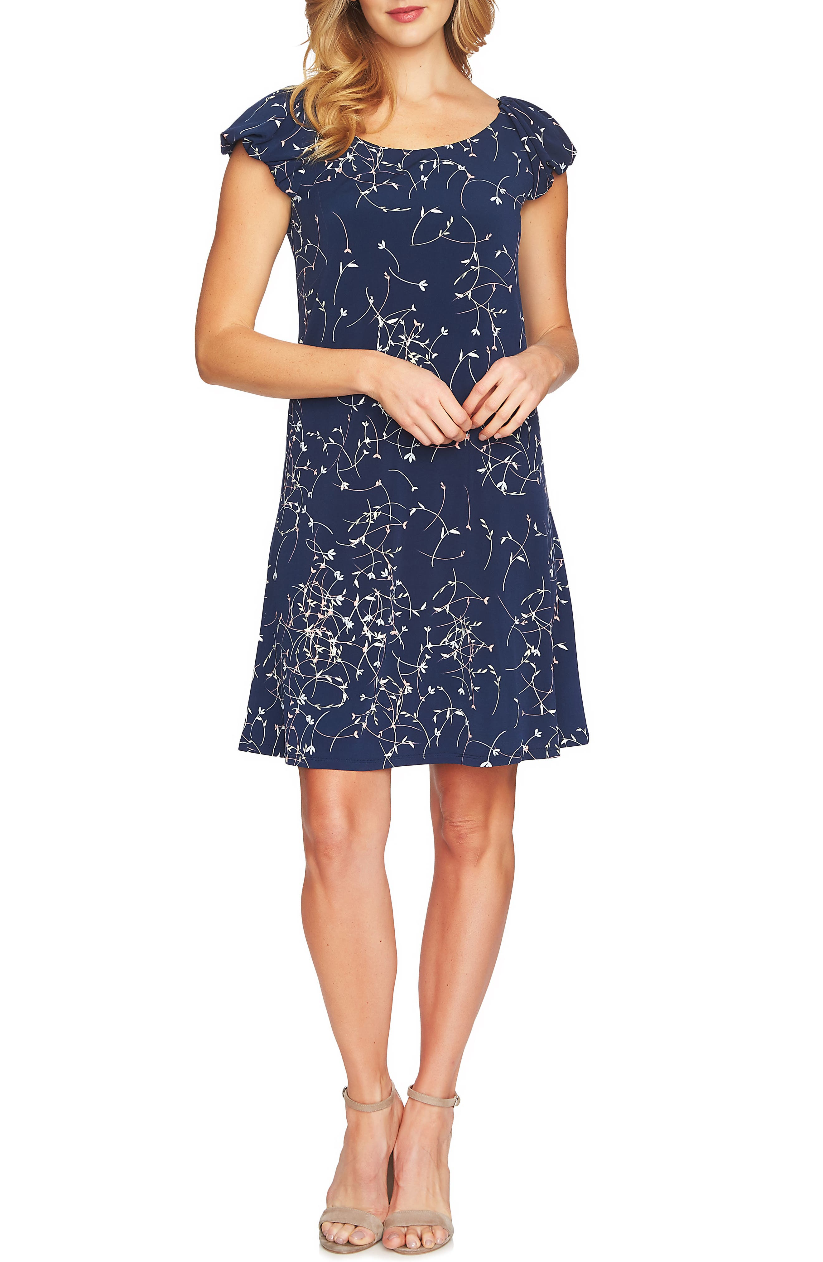 Ditsy Swirls Puffed Sleeve Dress,                             Alternate thumbnail 8, color,                             429