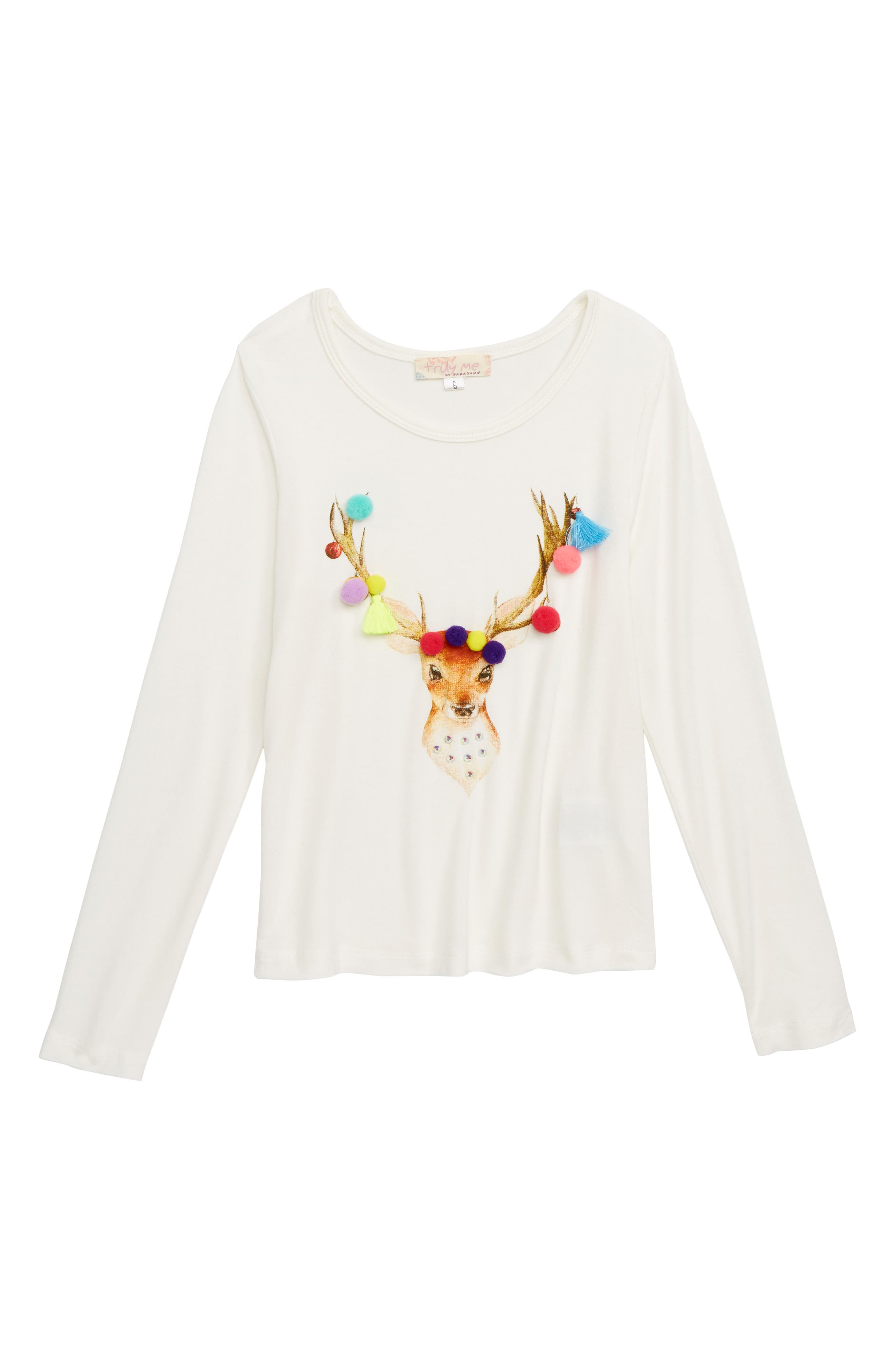 Holiday Deer Embellished Tee,                         Main,                         color, WHITE