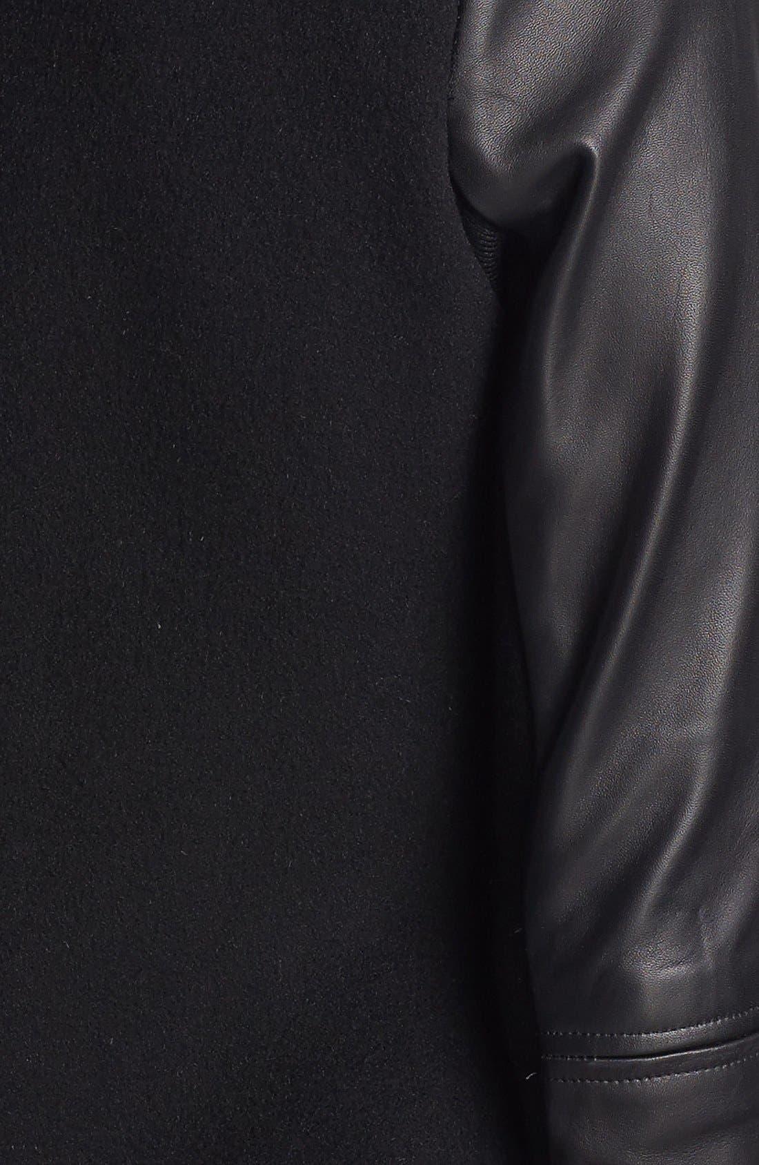 Asymmetrical Zip Mixed Media Coat,                             Alternate thumbnail 2, color,