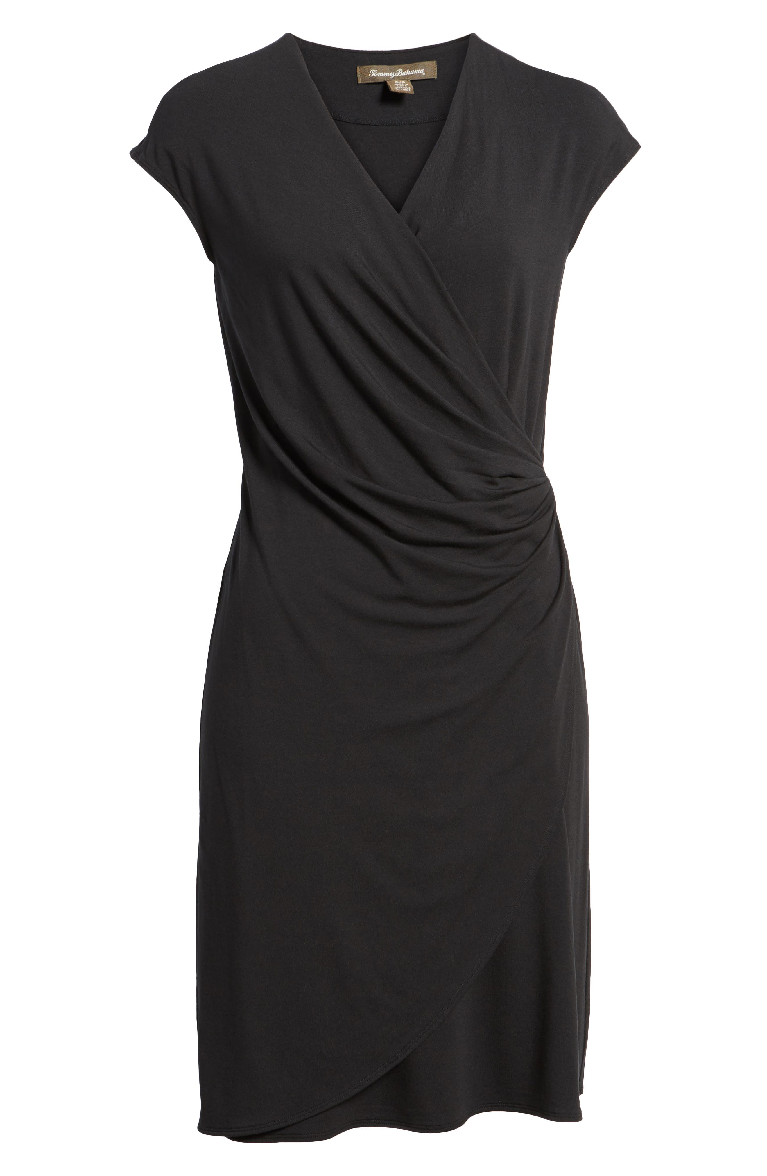 Tambour Side Gathered Jersey Dress,                             Alternate thumbnail 7, color,                             001