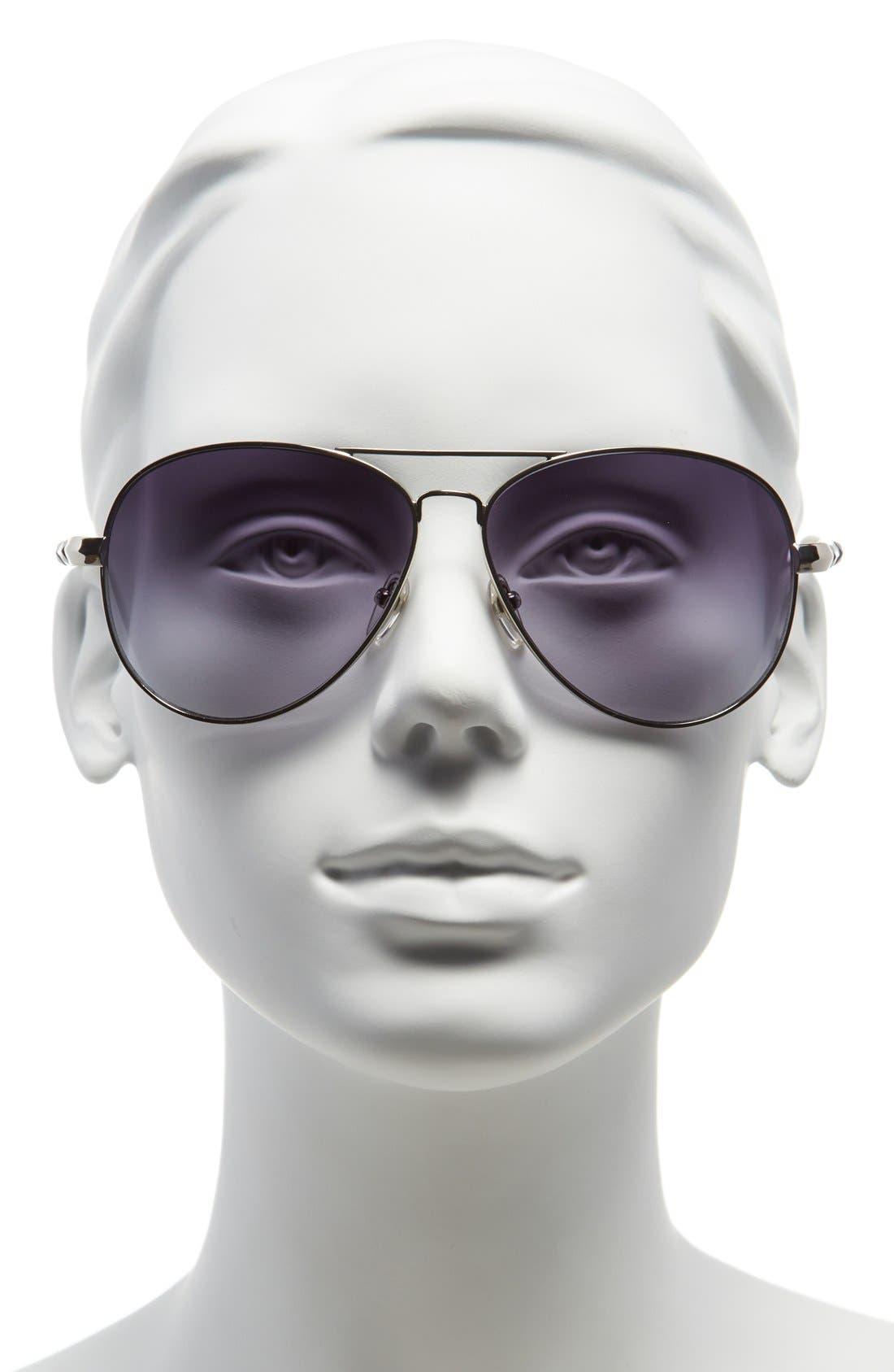 62mm Metal Aviator Sunglasses,                             Alternate thumbnail 8, color,