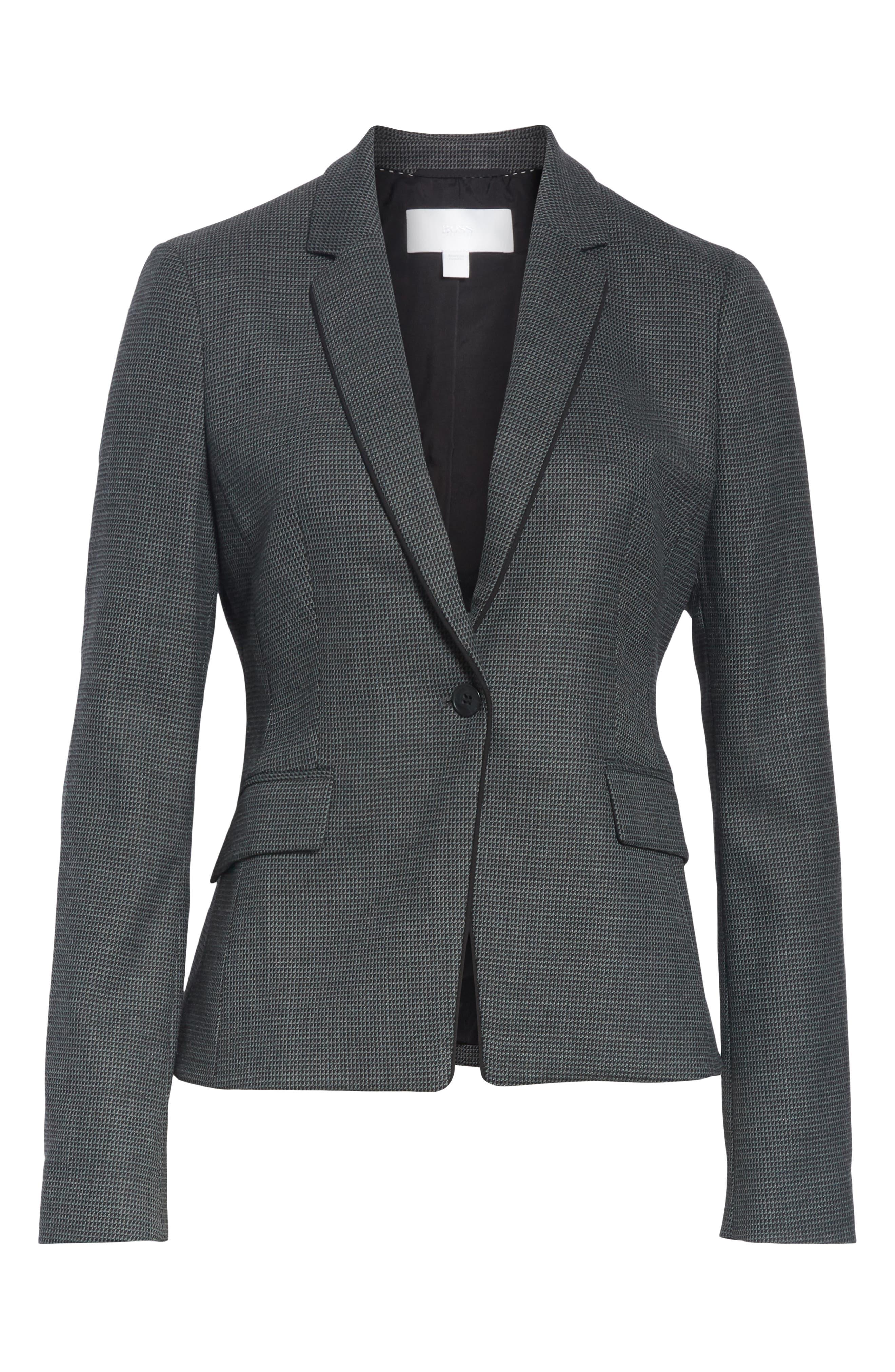 Jorita Geometric Wool Blend Suit Jacket,                             Alternate thumbnail 5, color,                             GREY FANTASY