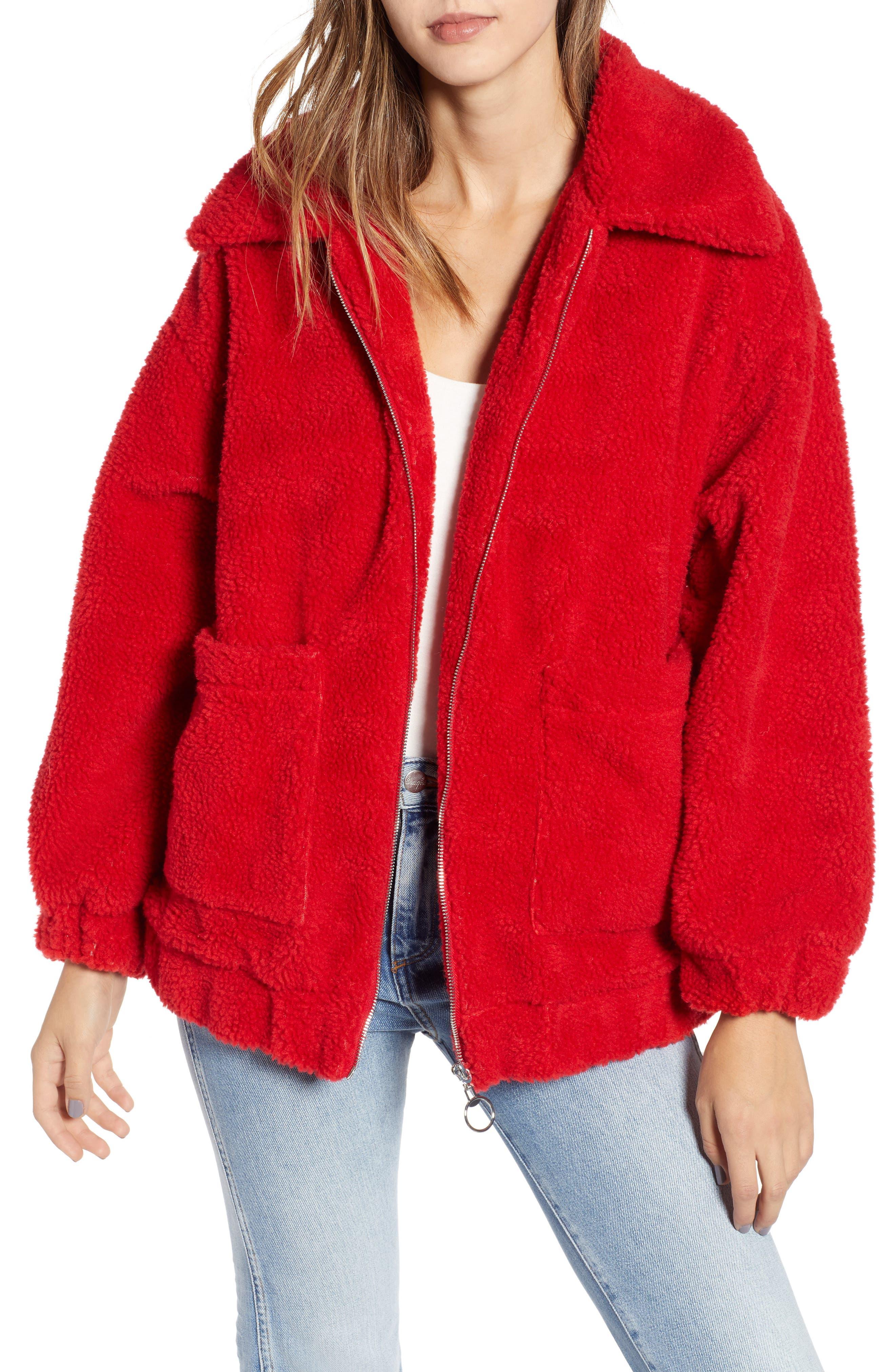 Oversized Fleece Jacket,                             Main thumbnail 1, color,                             RED