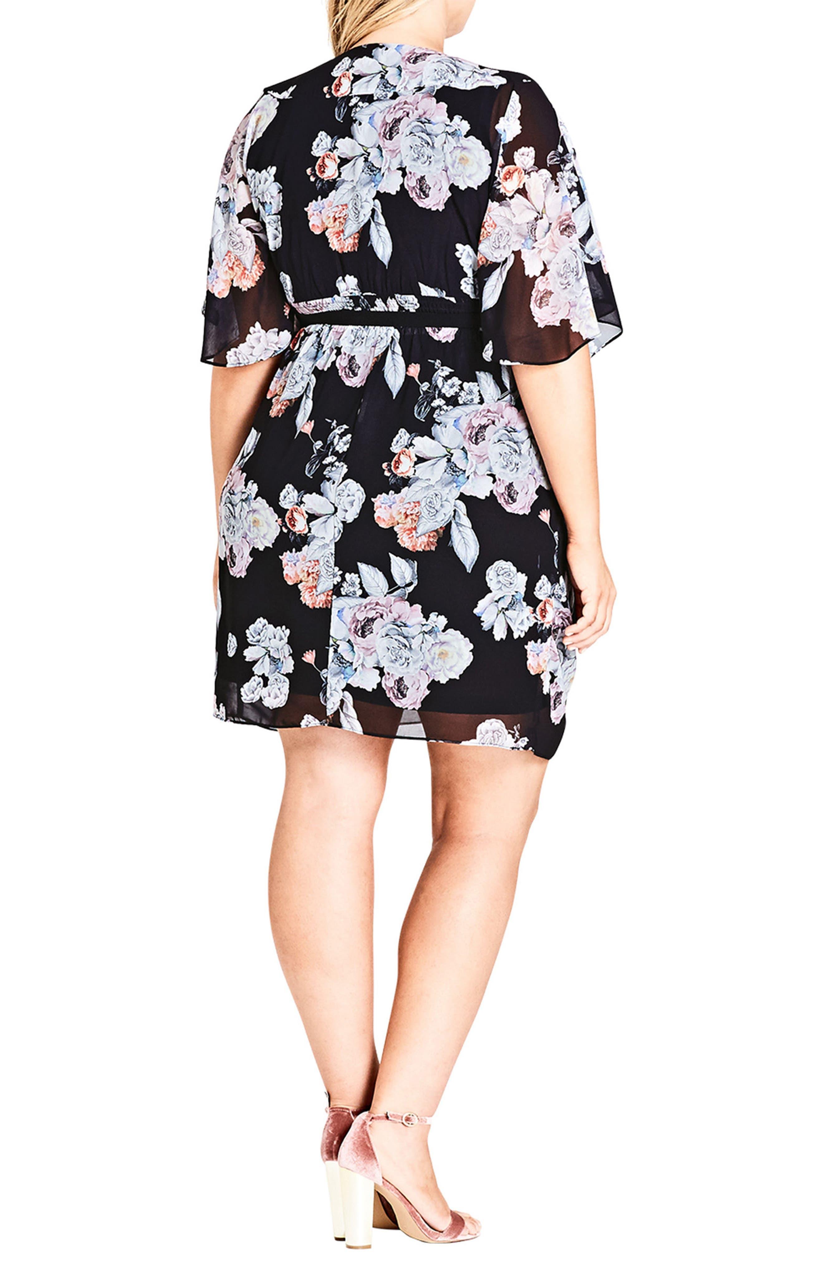 Floral Print Belted Faux Wrap Dress,                             Alternate thumbnail 2, color,                             111