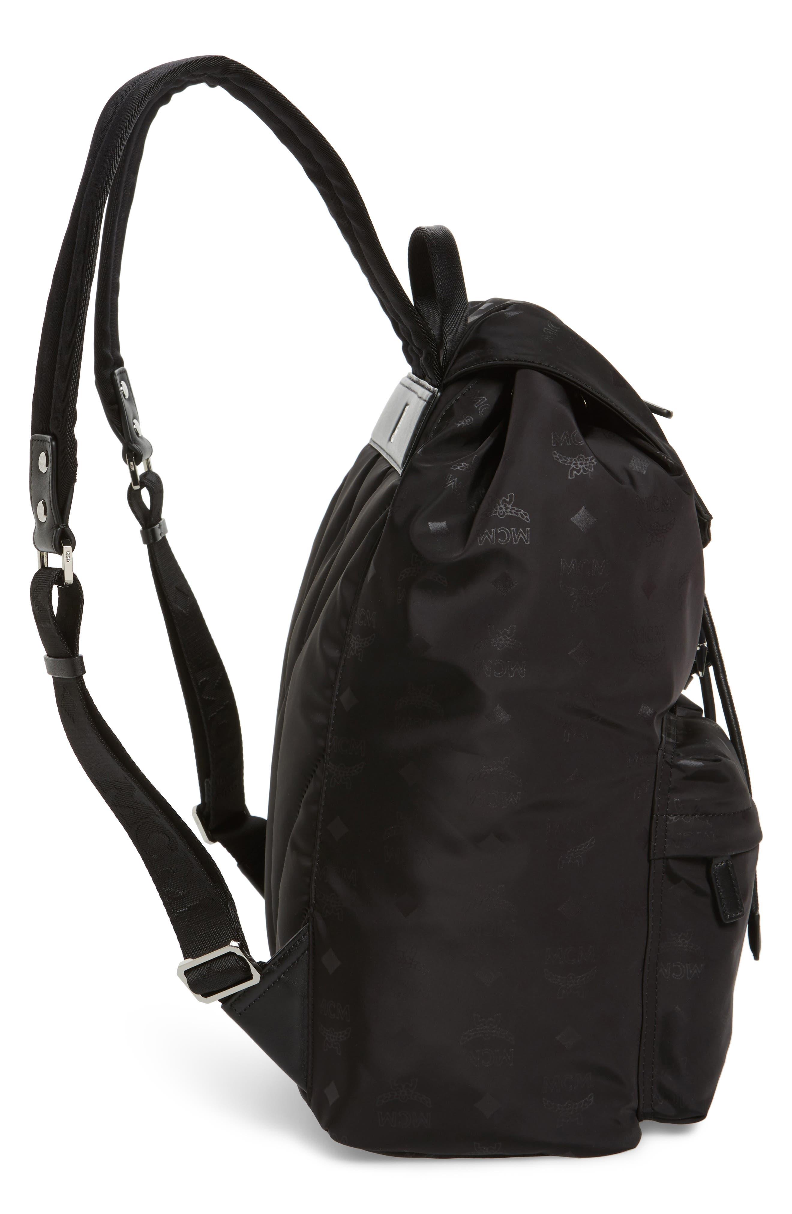 Large Dieter Monogrammed Nylon Backpack,                             Alternate thumbnail 5, color,                             001