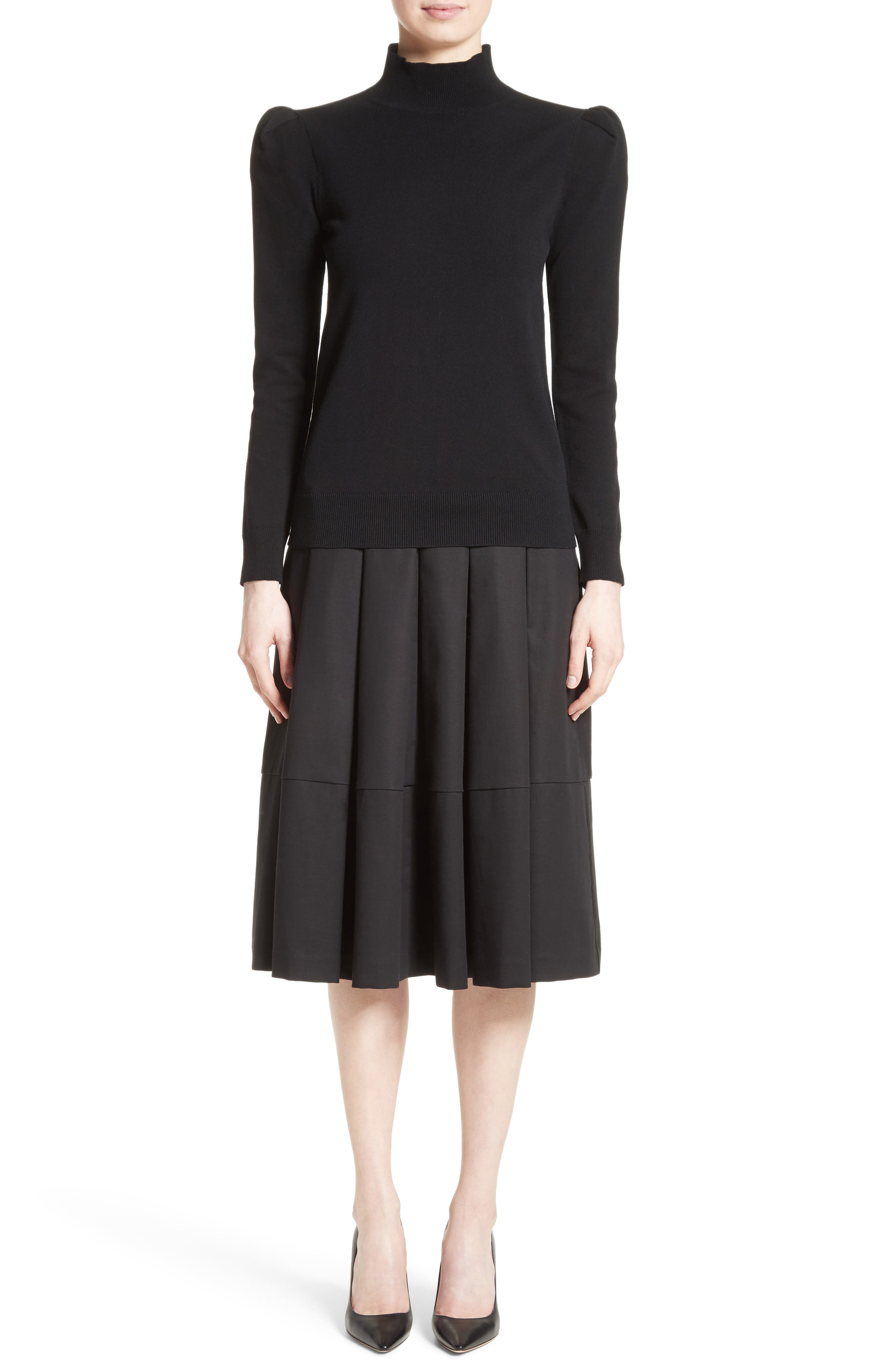 Gabardine Pleated Skirt,                             Alternate thumbnail 6, color,                             001