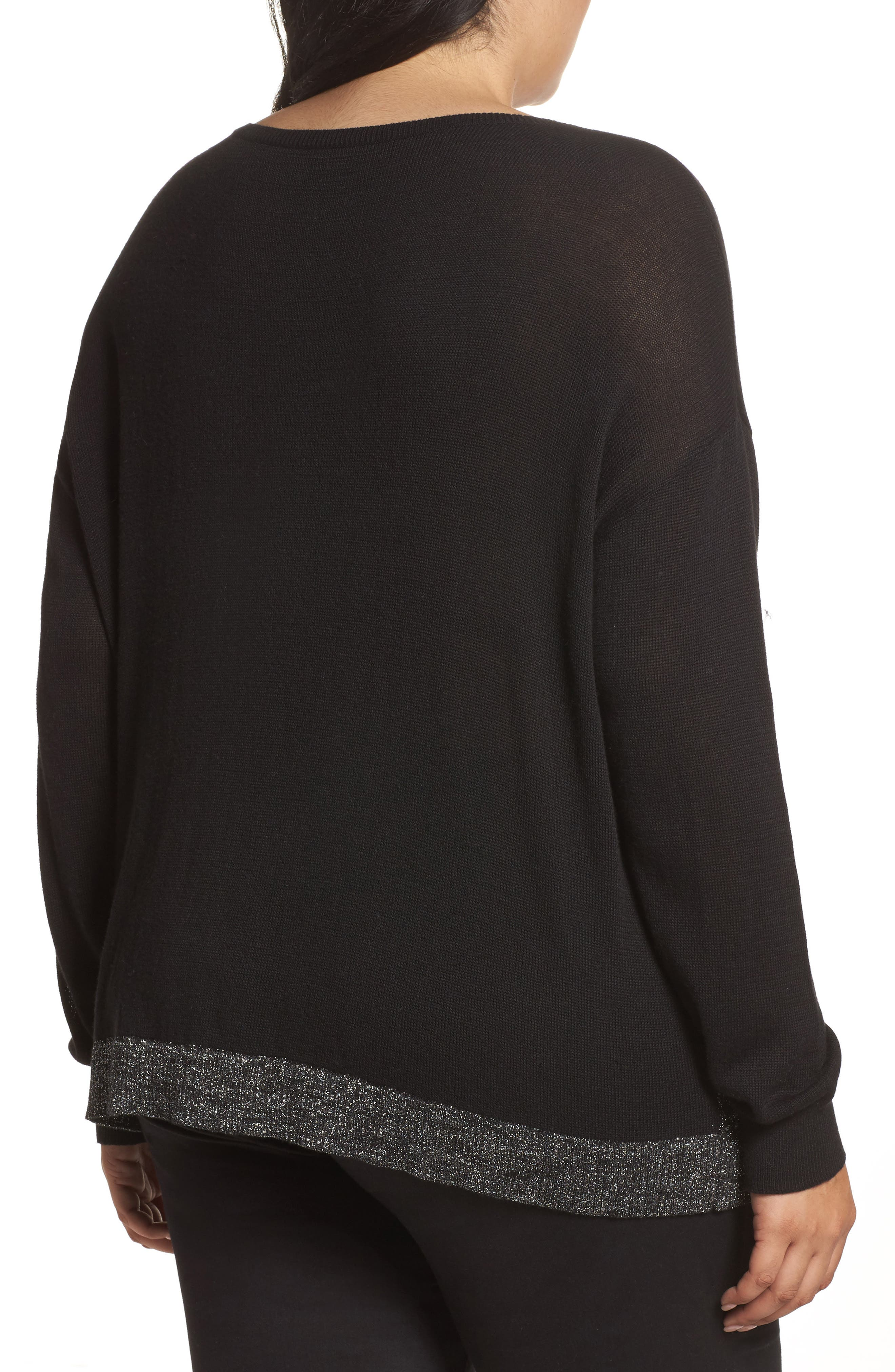 Metallic Scoop Neck Sweater,                             Alternate thumbnail 2, color,                             001