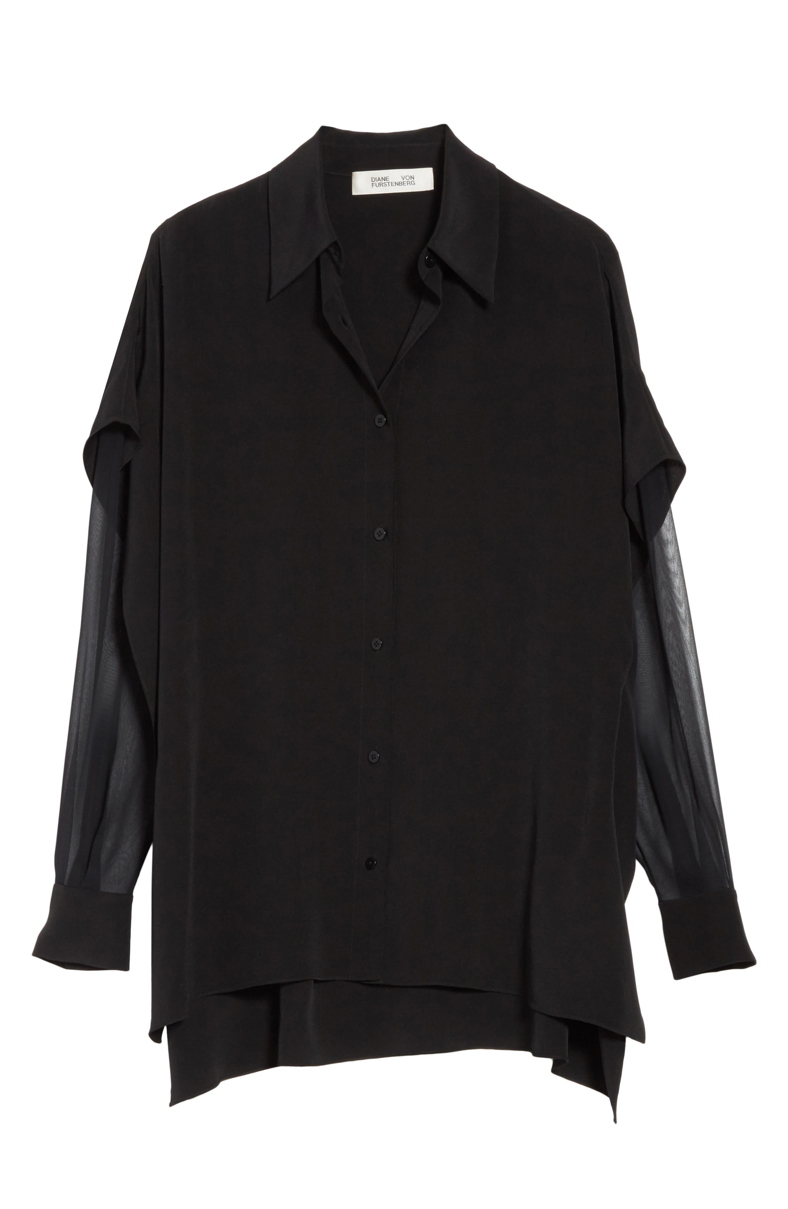 Button-Down Silk Shirt,                             Alternate thumbnail 6, color,