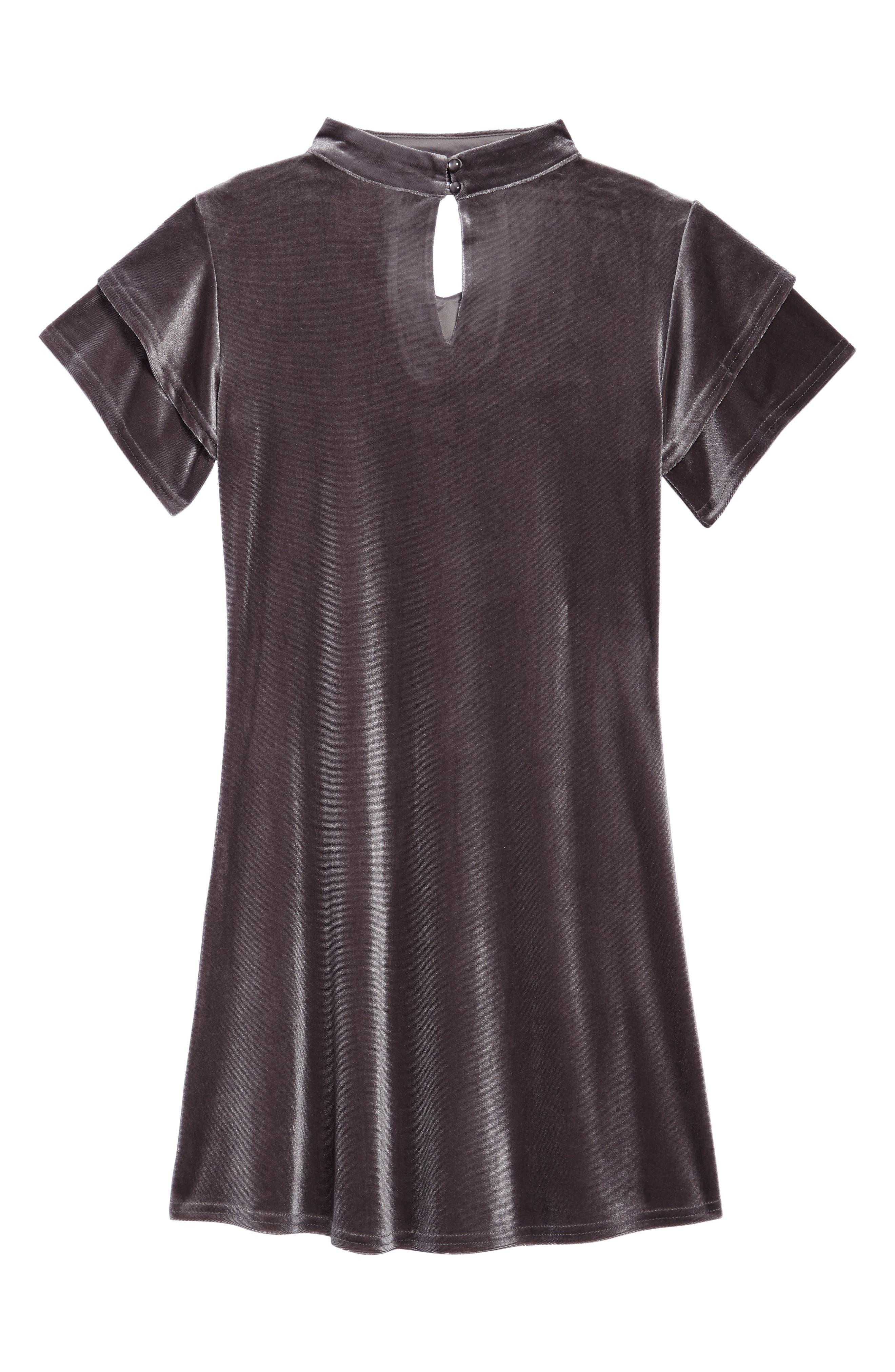Gigi Flutter Sleeve Velvet Dress,                             Alternate thumbnail 2, color,                             SILVER GREY