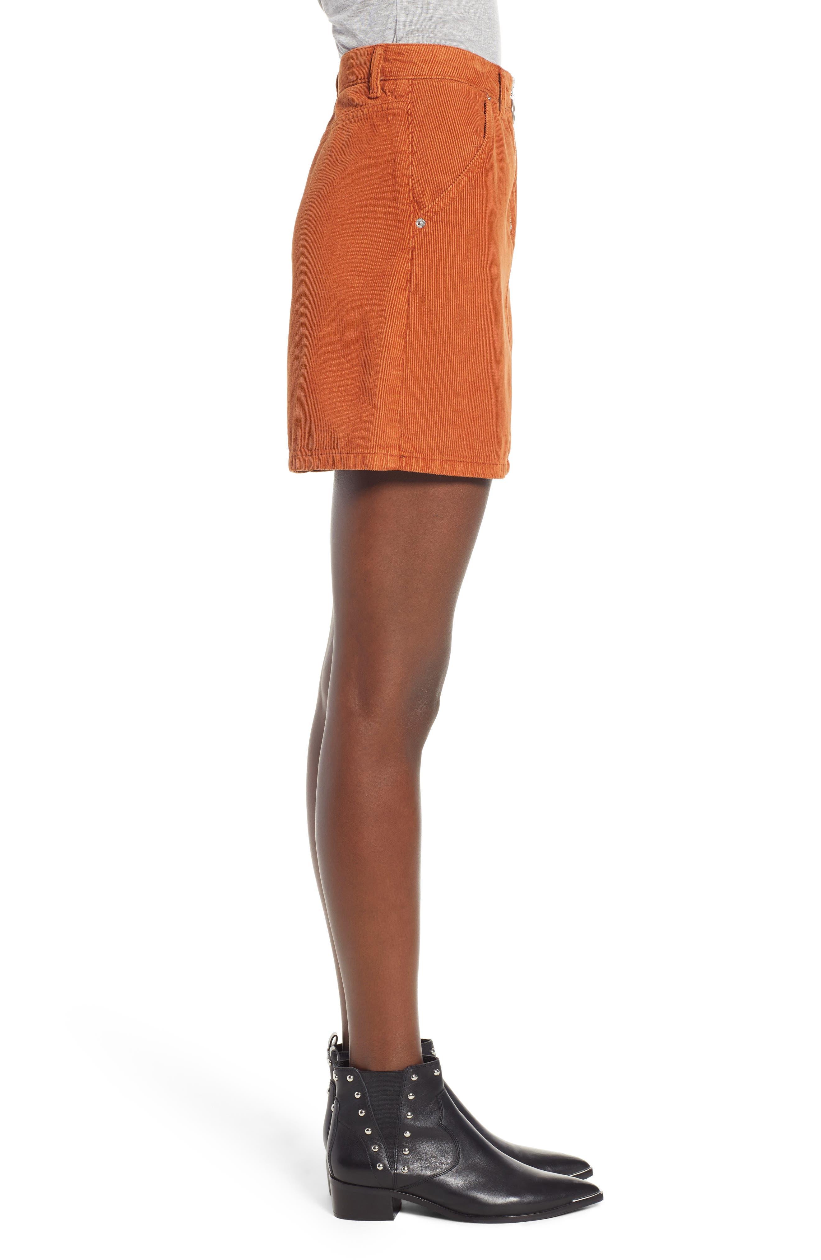 Cord Miniskirt,                             Alternate thumbnail 3, color,                             TOBACCO