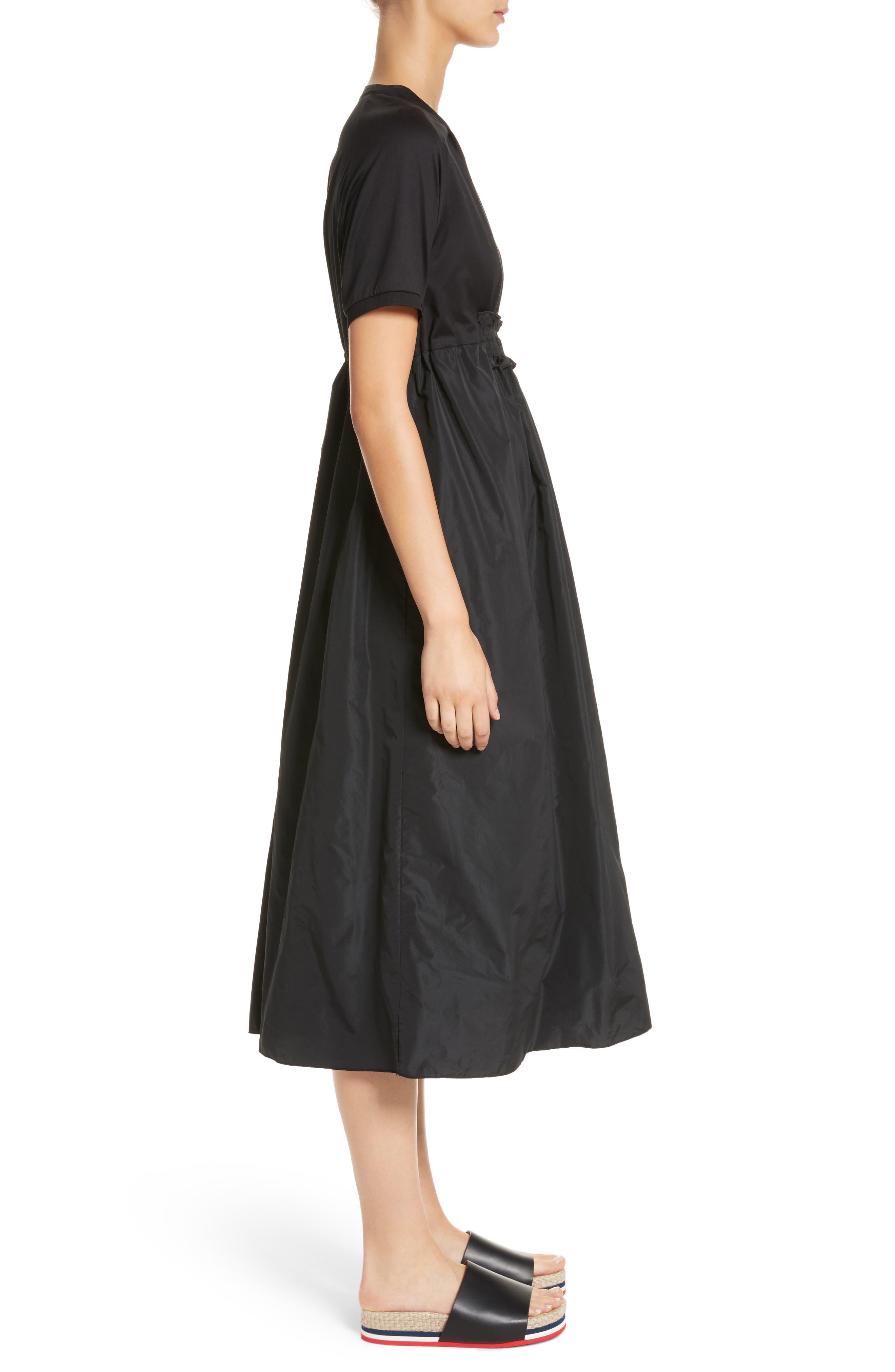 Abito Shirred Midi Dress,                             Alternate thumbnail 3, color,                             BLACK