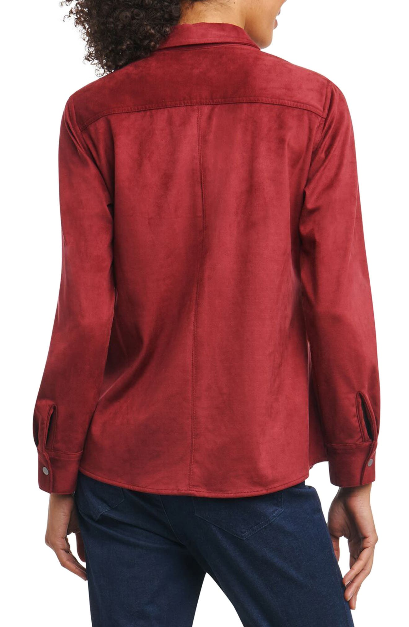 Jena Faux Suede Shirt,                             Alternate thumbnail 4, color,