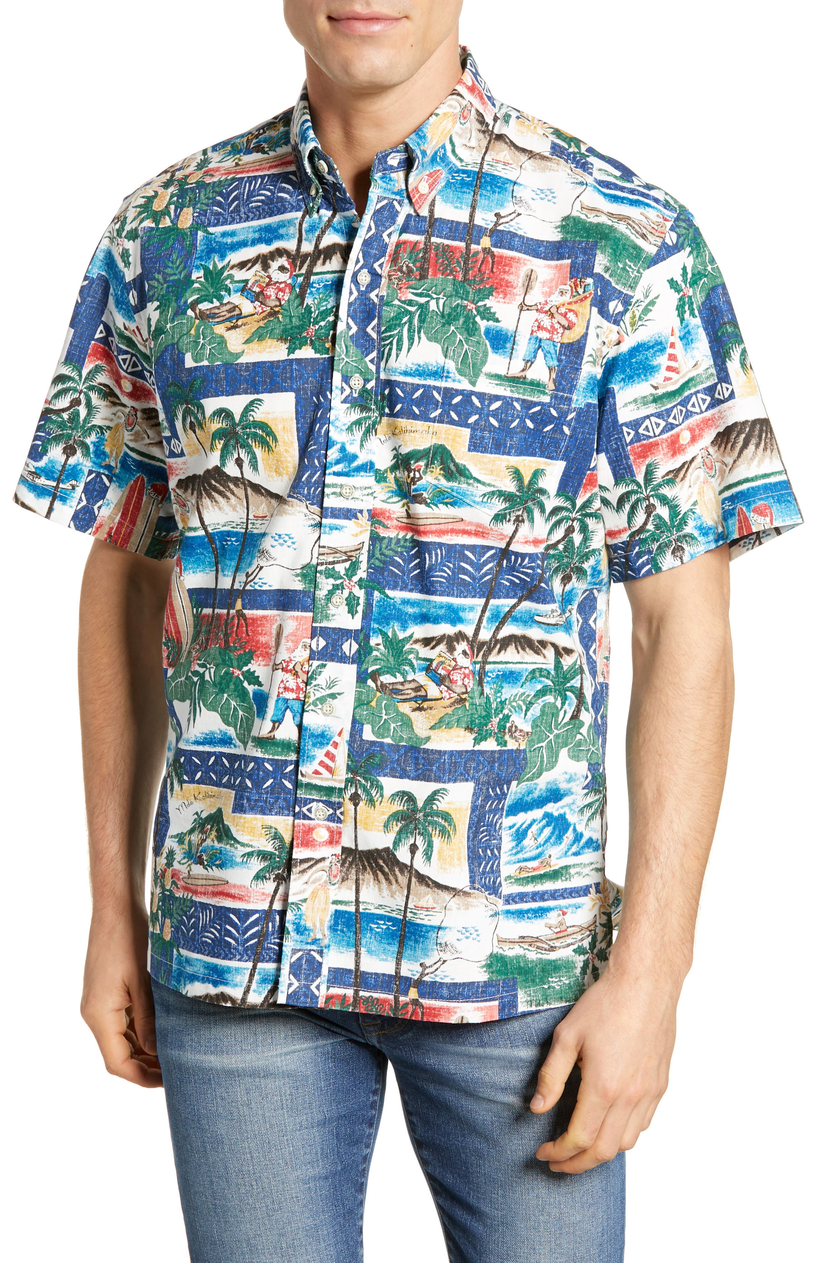 Reyn Spooner Hawaiian Christmas 2018 Classic Fit Sport Shirt, Blue