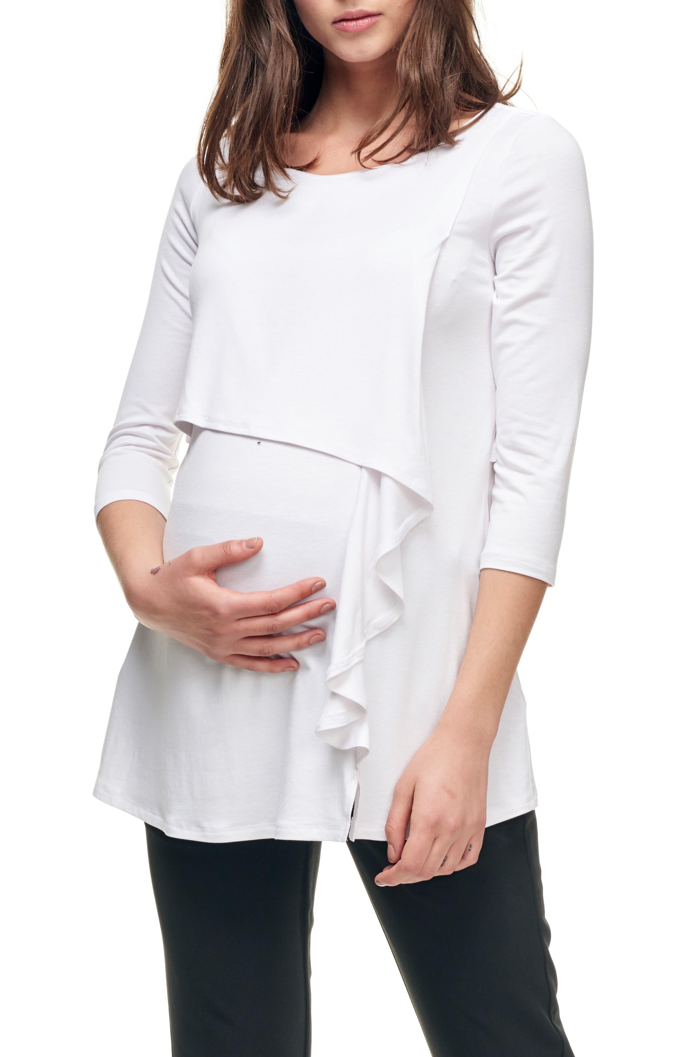 Cascade Ruffle Front Maternity/Nursing Top,                             Main thumbnail 1, color,                             900