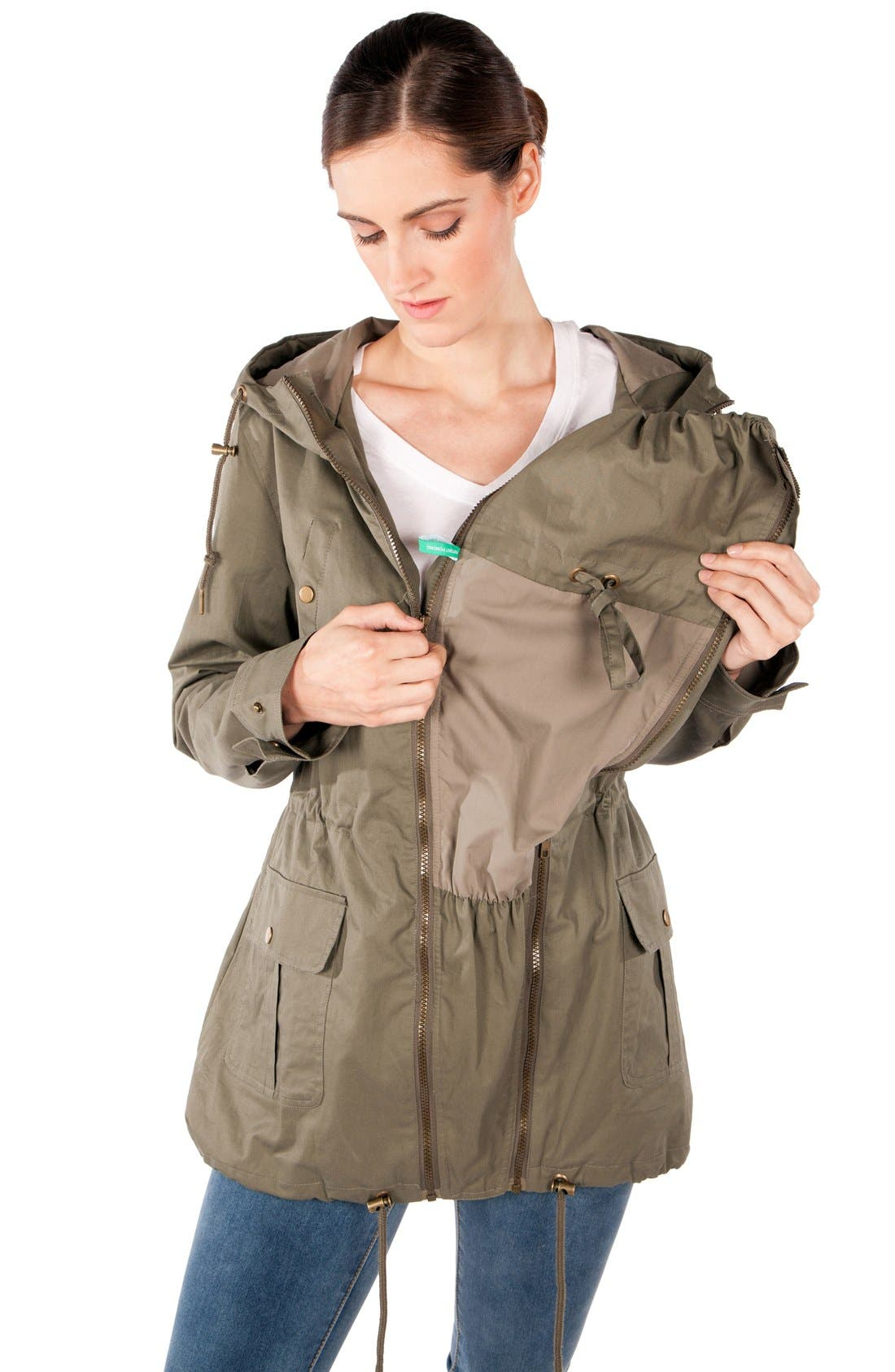 Convertible Military 3-in-1 Maternity/Nursing Jacket,                             Alternate thumbnail 10, color,                             KHAKI GREEN