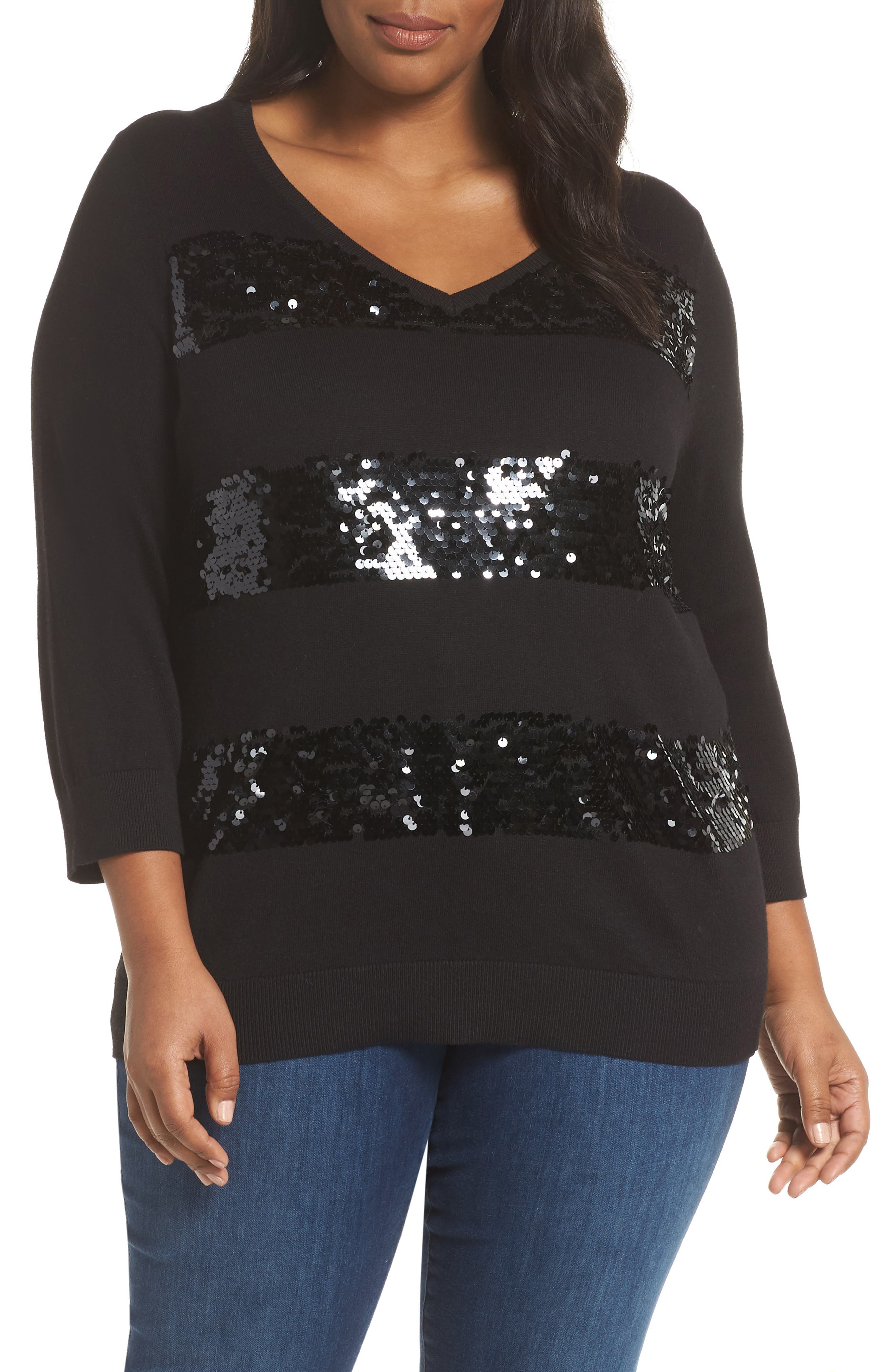 Sequin Stripe Pullover,                         Main,                         color, BLACK
