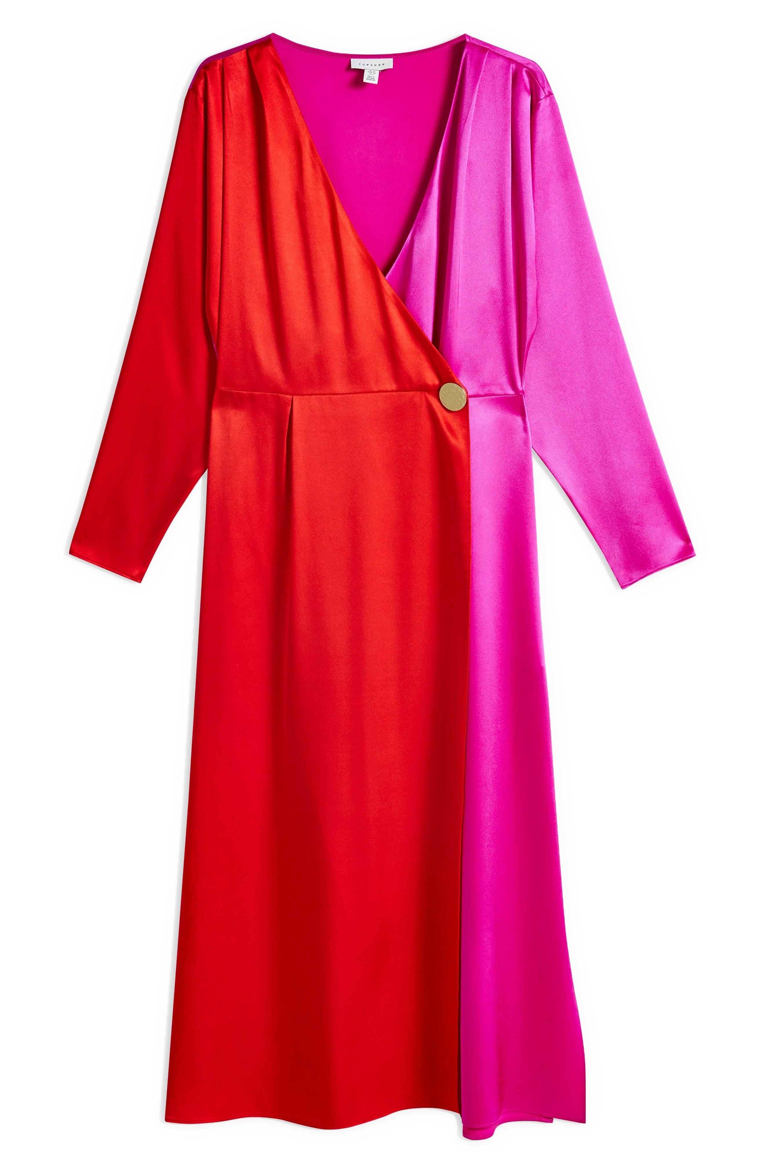 TOPSHOP,                             Colorblock Dress,                             Alternate thumbnail 3, color,                             PINK MULTI