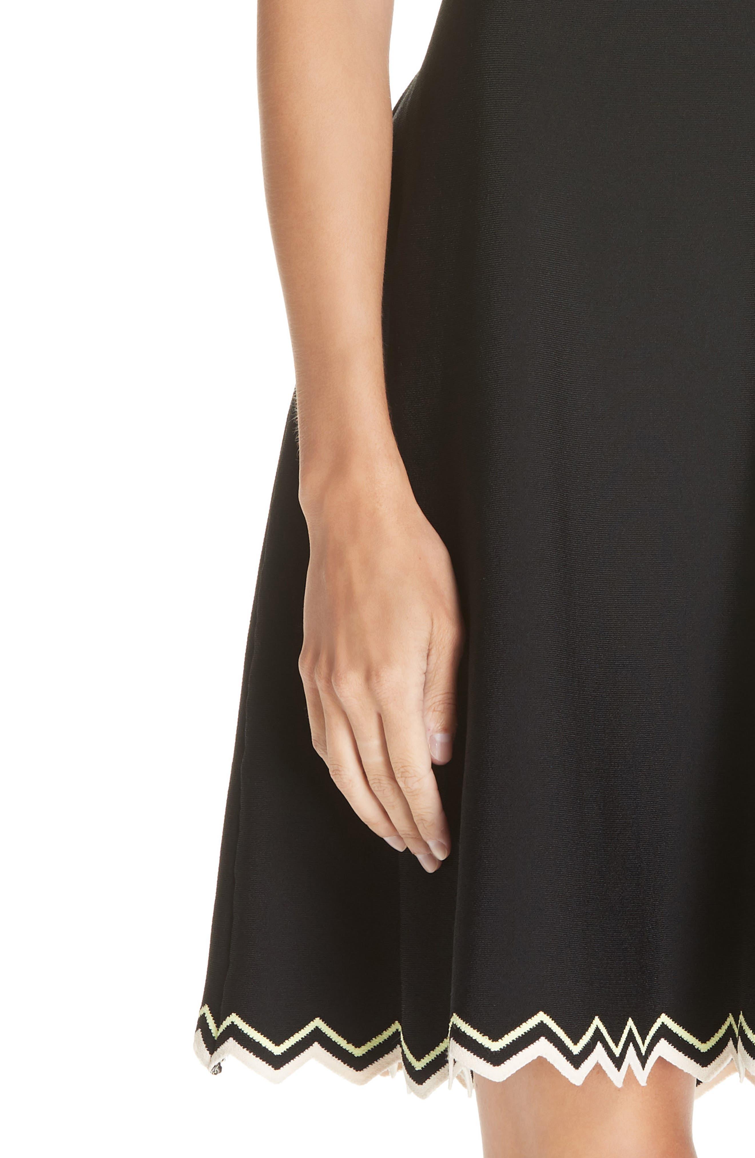 Chevron Hem A-Line Dress,                             Alternate thumbnail 4, color,                             10225 BLACK COMBO