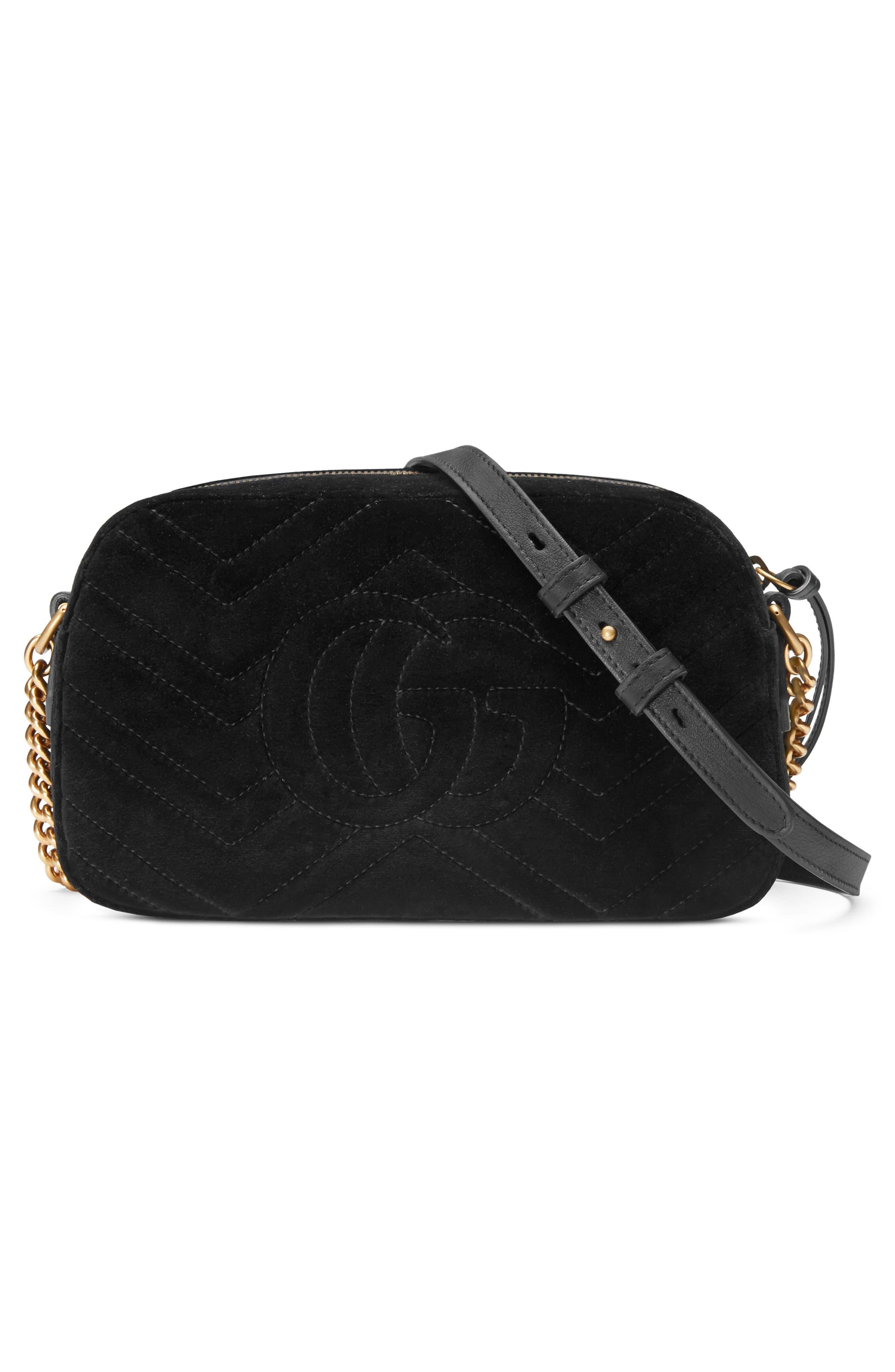 Small GG Marmont 2.0 Matelassé Velvet Shoulder Bag,                             Alternate thumbnail 2, color,                             NERO/ NERO