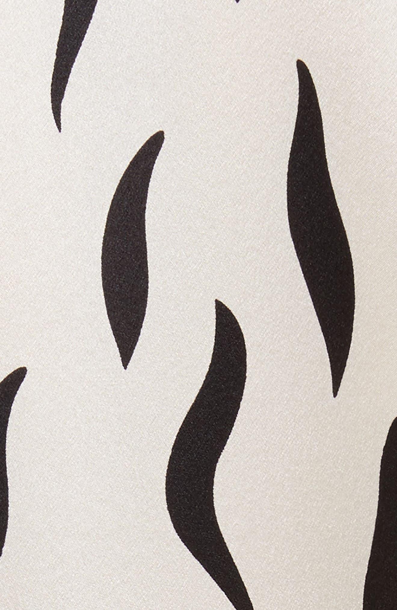 Cassidy Long Zebra Silk Dress,                             Alternate thumbnail 5, color,                             906