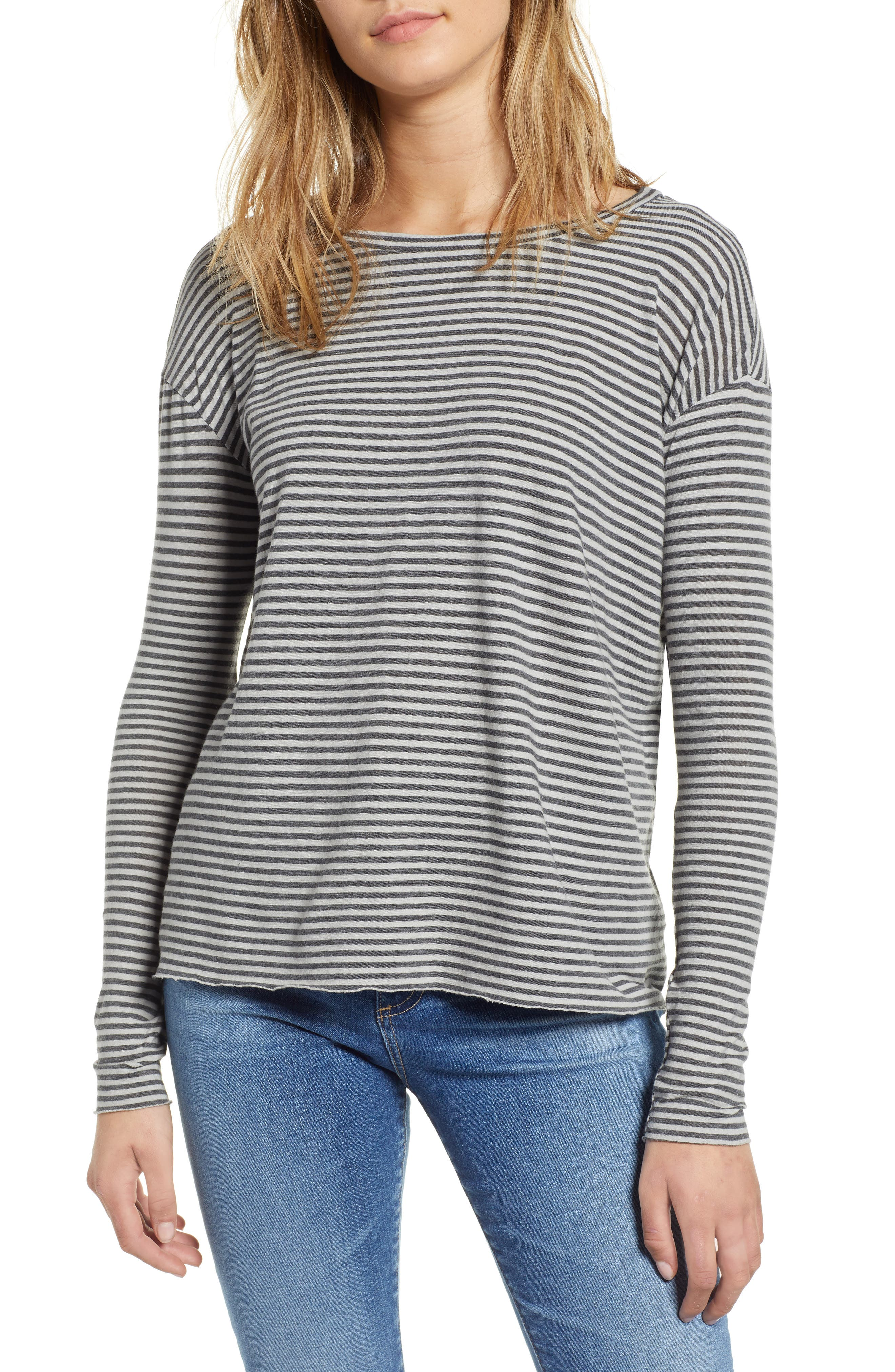 FRANK & EILEEN Tee Lab Core Long Sleeve Tee in Dime Stripe