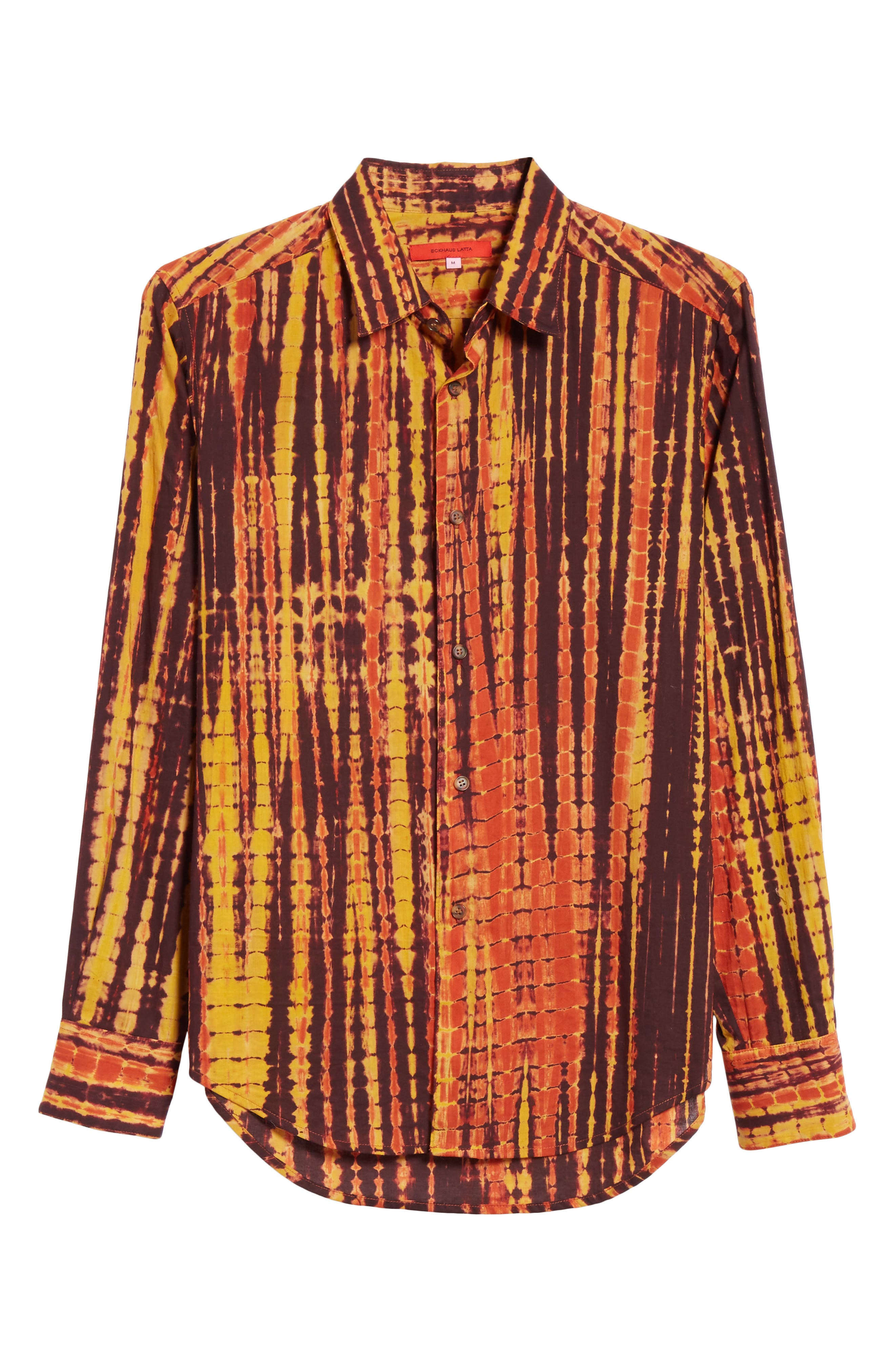 Hand Dyed Cotton Shirt,                             Alternate thumbnail 6, color,                             BY - BROWN AND YELLOW