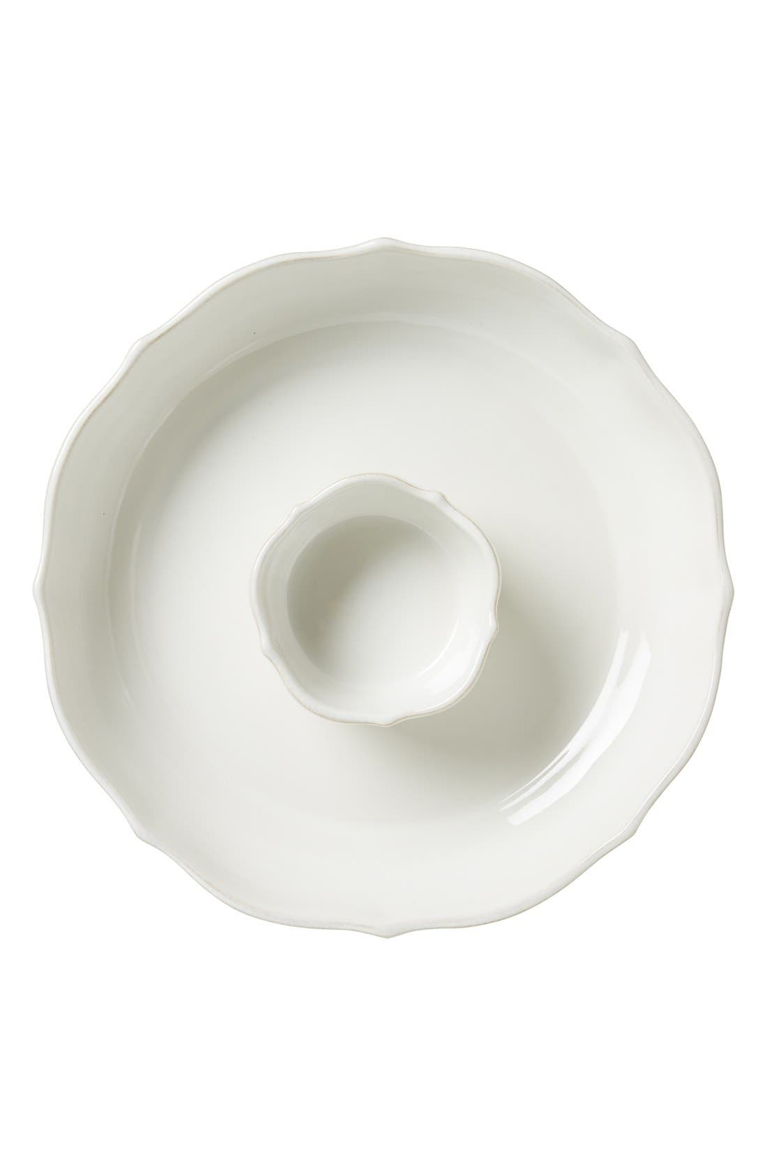 'Berry and Thread' Chips & Dip Serving Bowl,                             Main thumbnail 1, color,                             WHITEWASH