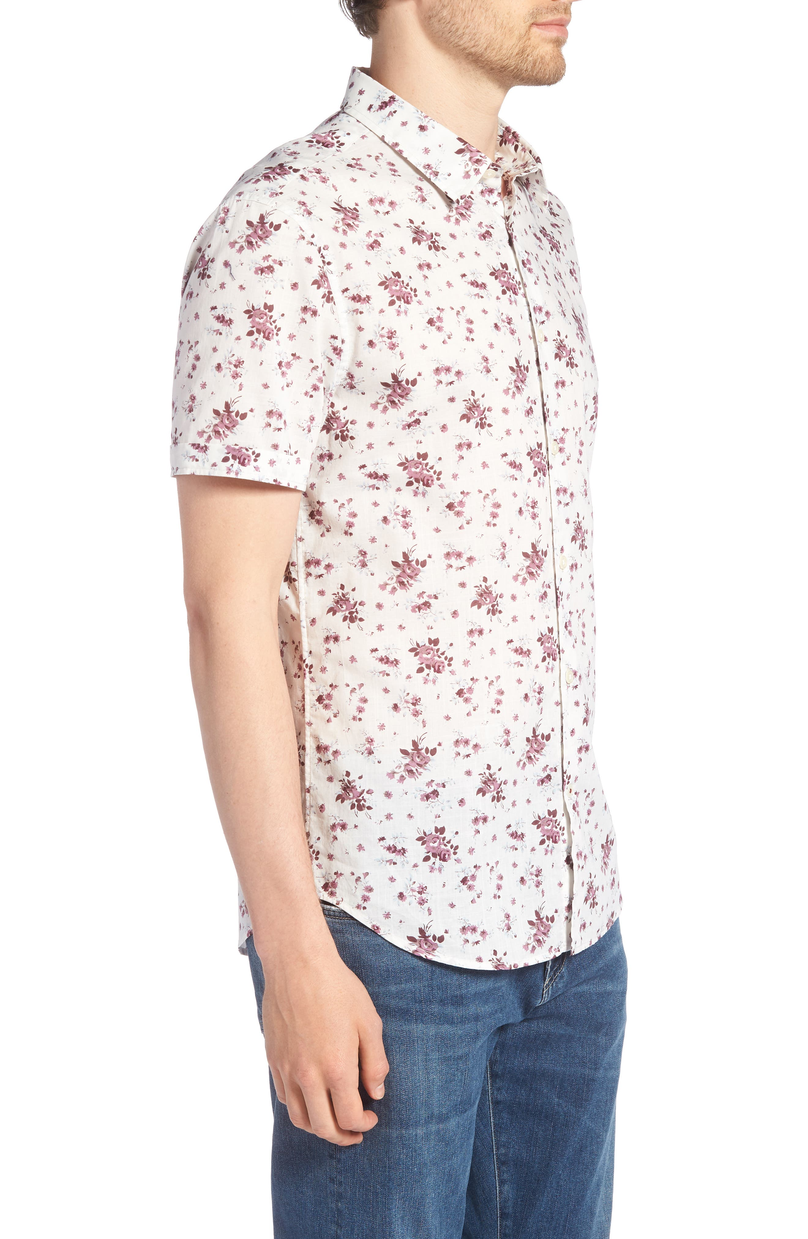 Regular Fit Floral Woven Shirt,                             Alternate thumbnail 3, color,                             661