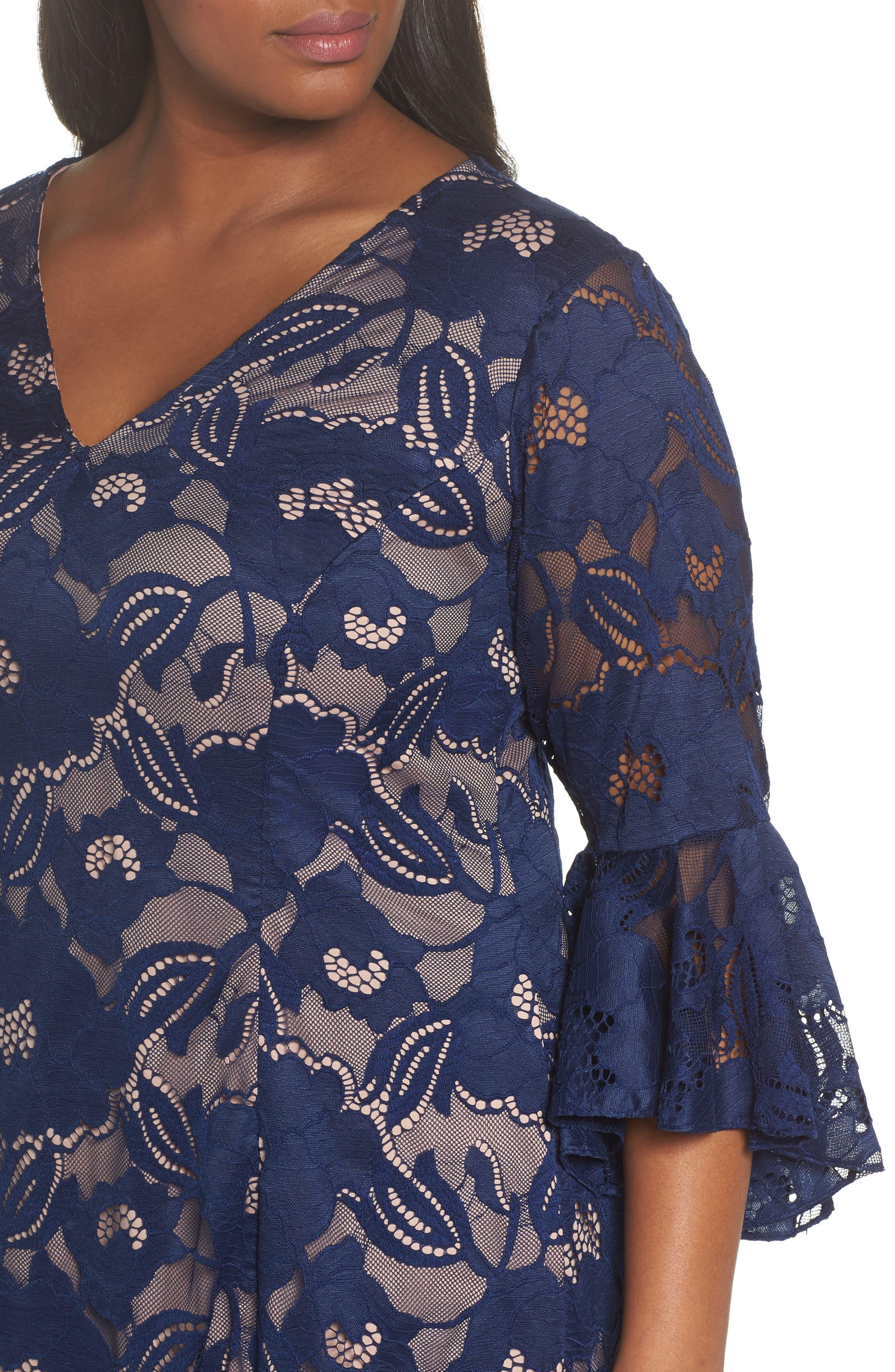 Ruffle Sleeve Lace Dress,                             Alternate thumbnail 4, color,                             412