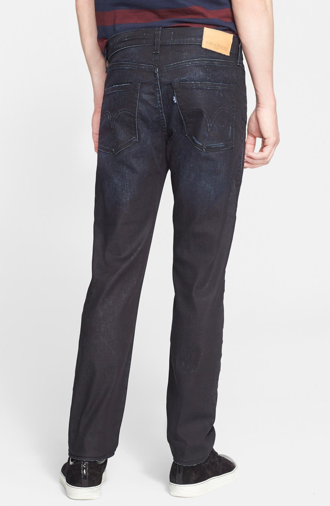 'Death or Glory' Waxed Skinny Fit Jeans,                             Alternate thumbnail 3, color,                             401