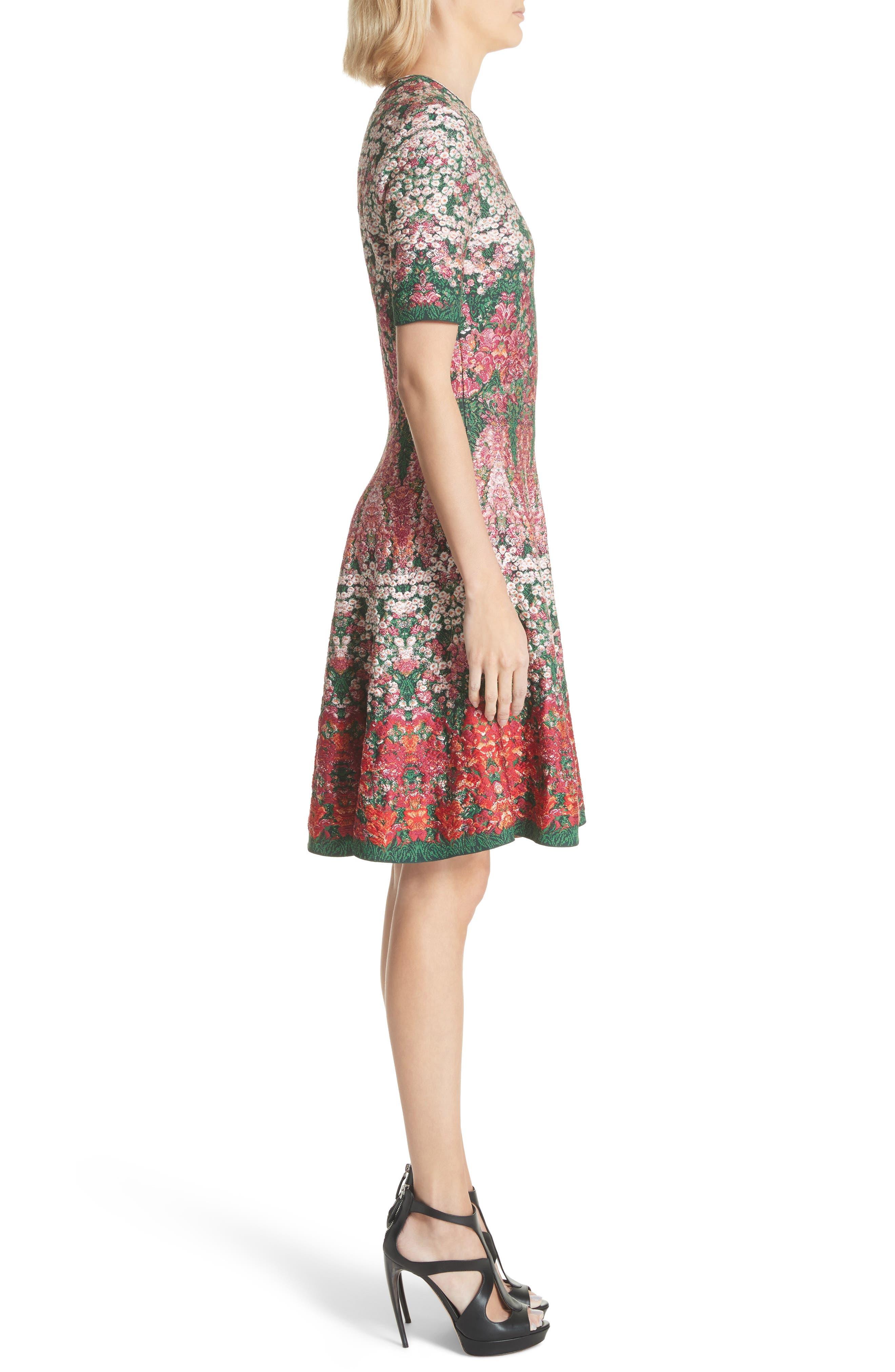 Floral Jacquard Knit Fit & Flare Dress,                             Alternate thumbnail 3, color,                             608