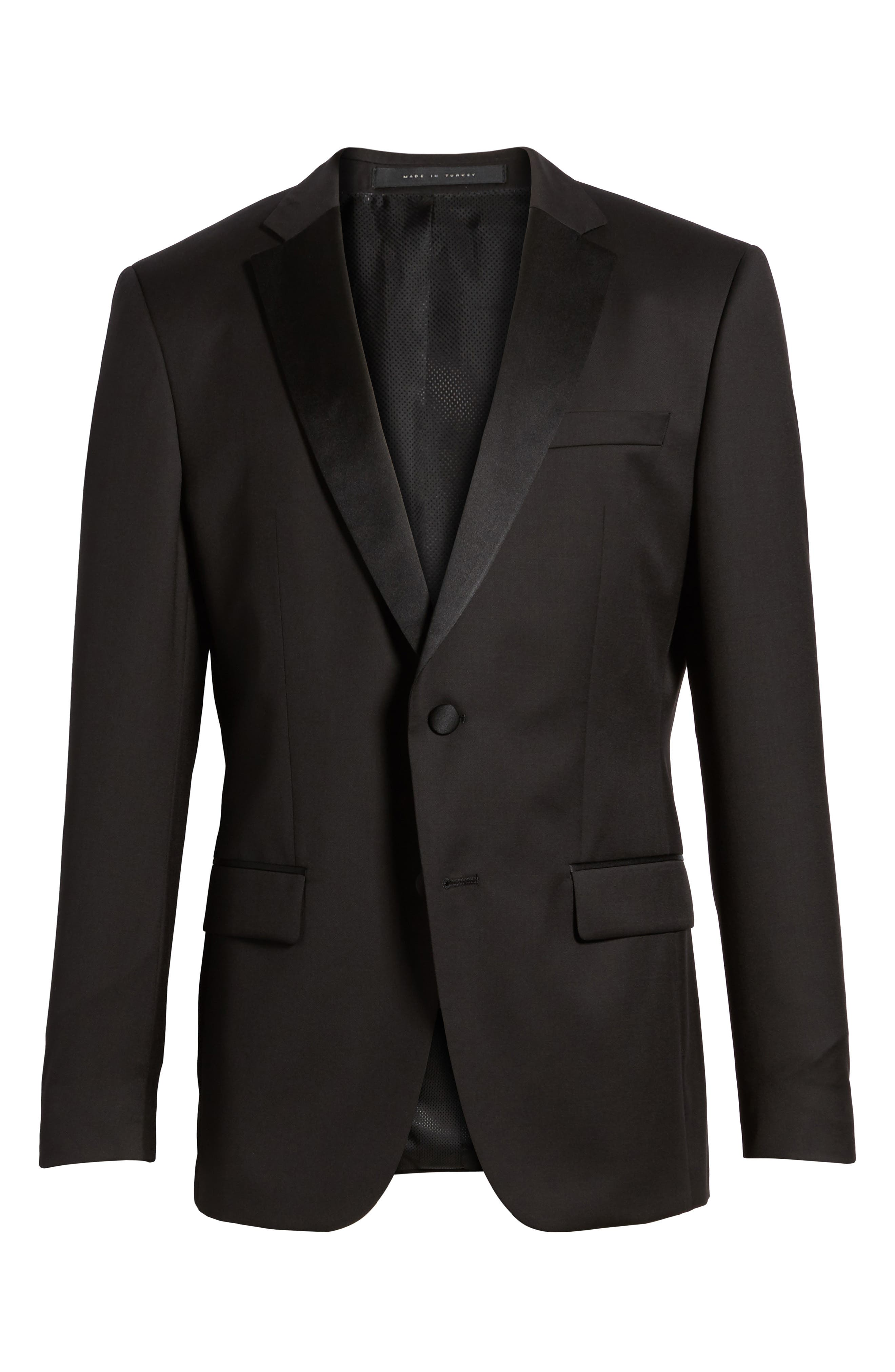 Hence CYL Trim Fit Wool Dinner Jacket,                             Alternate thumbnail 5, color,                             BLACK