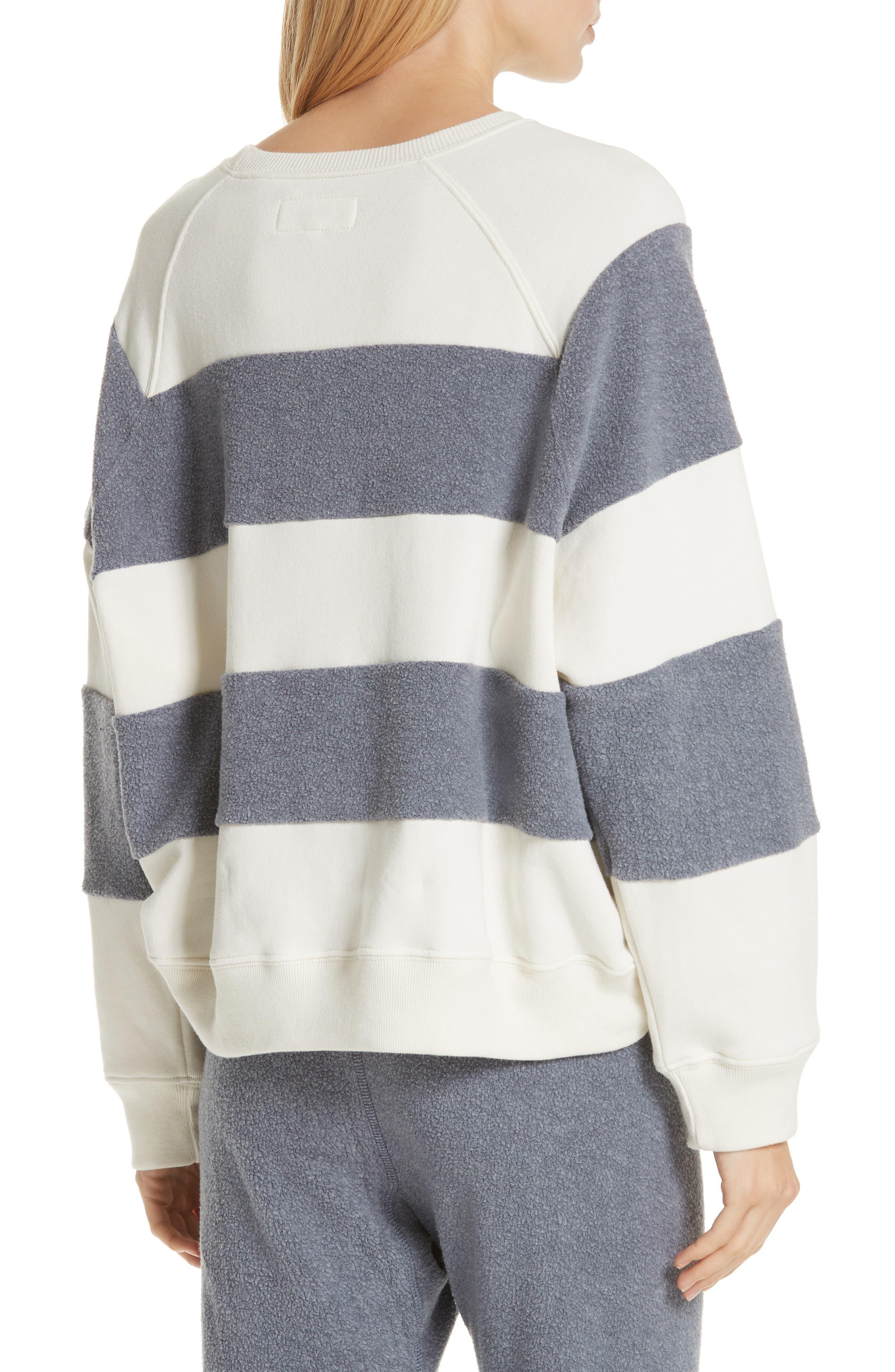 Fleece Stripe Slouch Sweatshirt,                             Alternate thumbnail 2, color,                             ENGINE BLUE AND CREAM